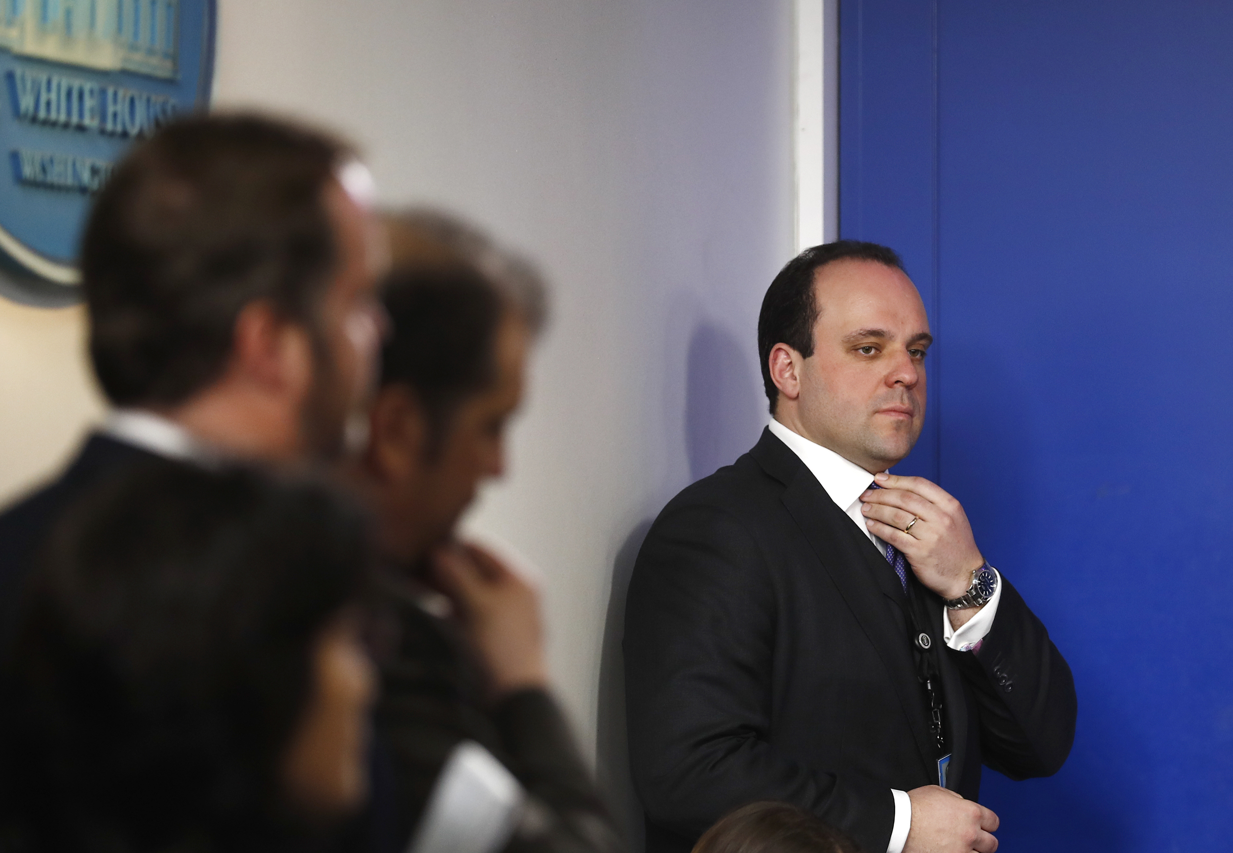 Image: Boris Epshteyn stands to the side of the White House briefing room