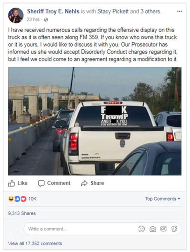 Image: Facebook post about the trump truck decal