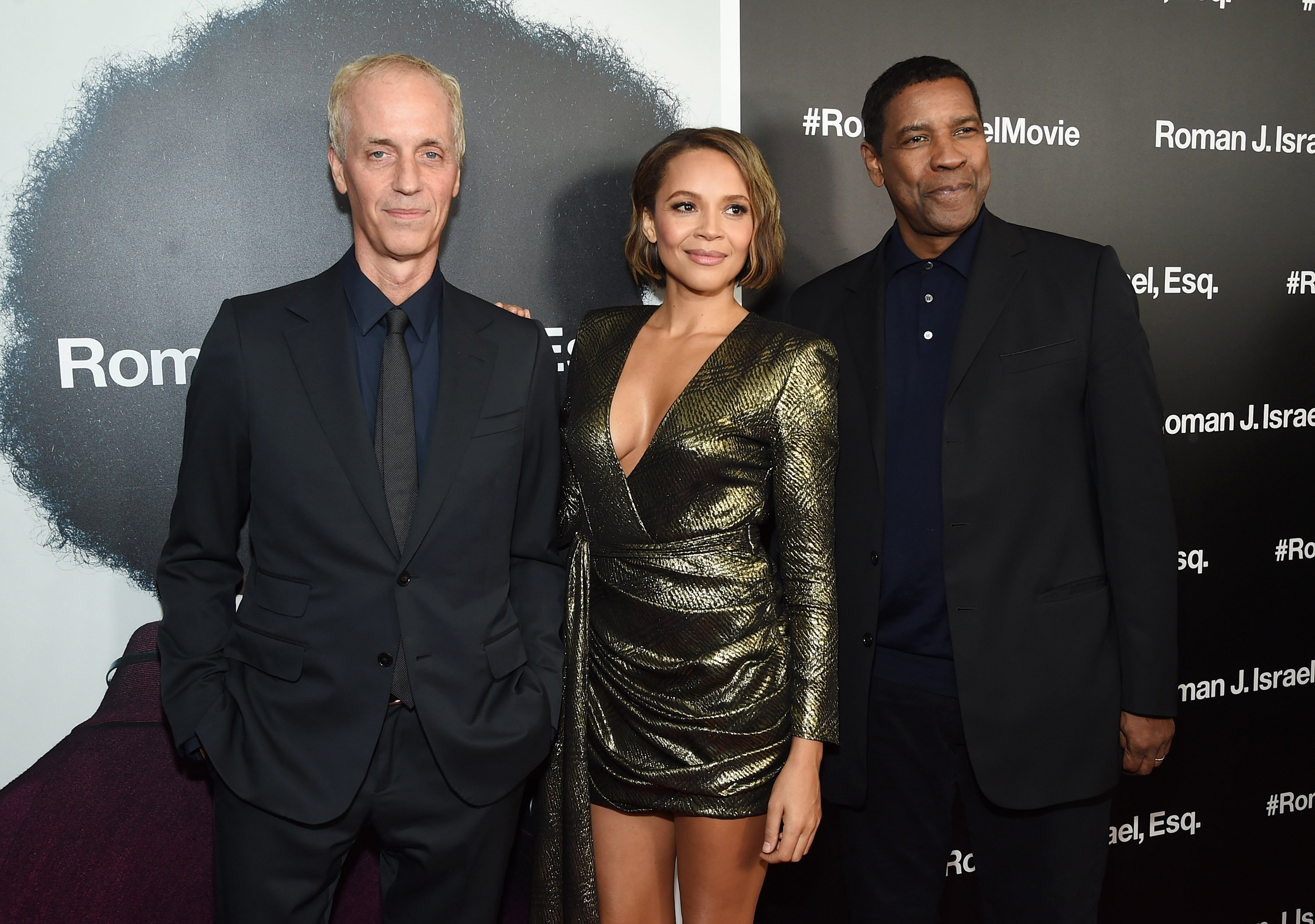 Image: Dan Gilroy, Carmen Ejogo and Denzel Washington attend the screening of
