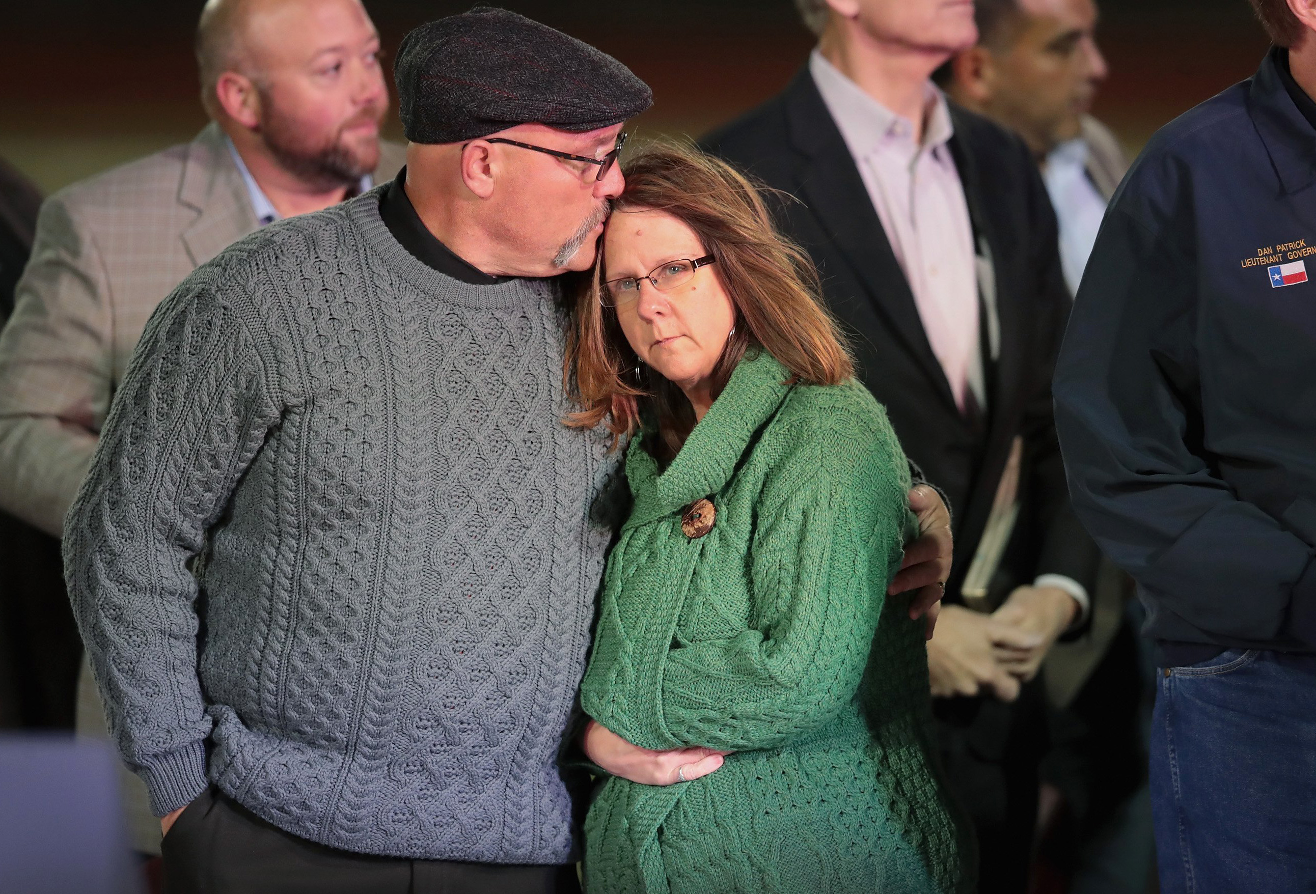 Image: Pastor Frank Pomeroy comforts his wife Sherri during a memorial service for the victims of the First Baptist Church of Sutherland Springs shooting