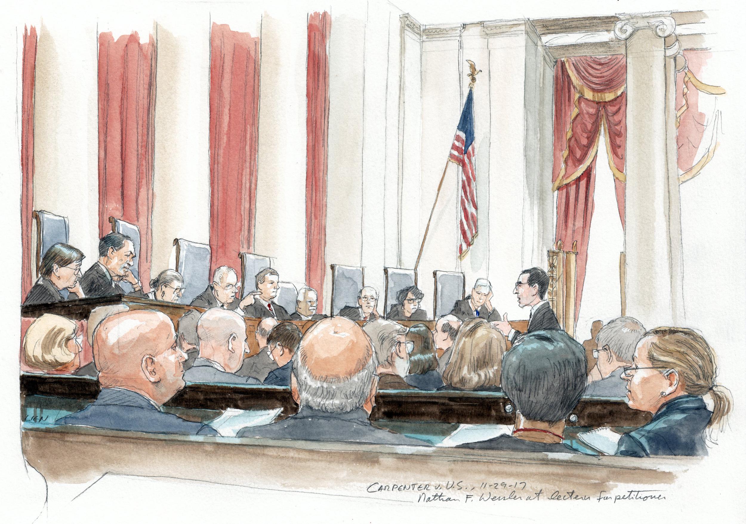 Image: Nathan F. Wessler at lectern for petitioner in front of Supreme Court Justices on Nov. 29, 2017.