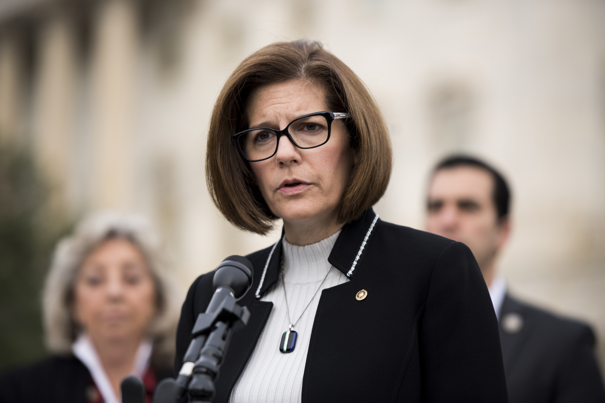 Image: Sen. Catherine Cortez Masto, D-Nev., speaks during a news conference at the Capitol