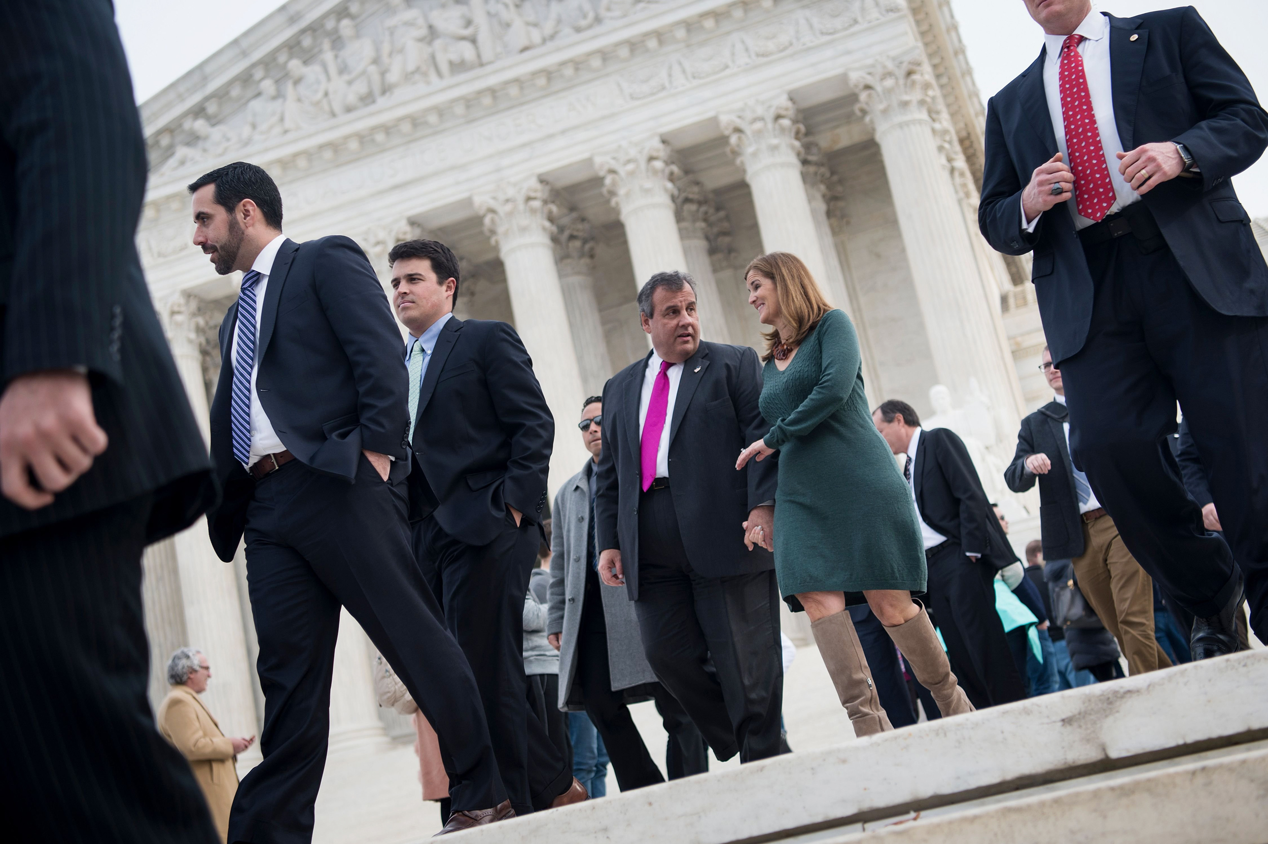 Image: Christie and his wife leave the Supreme Court