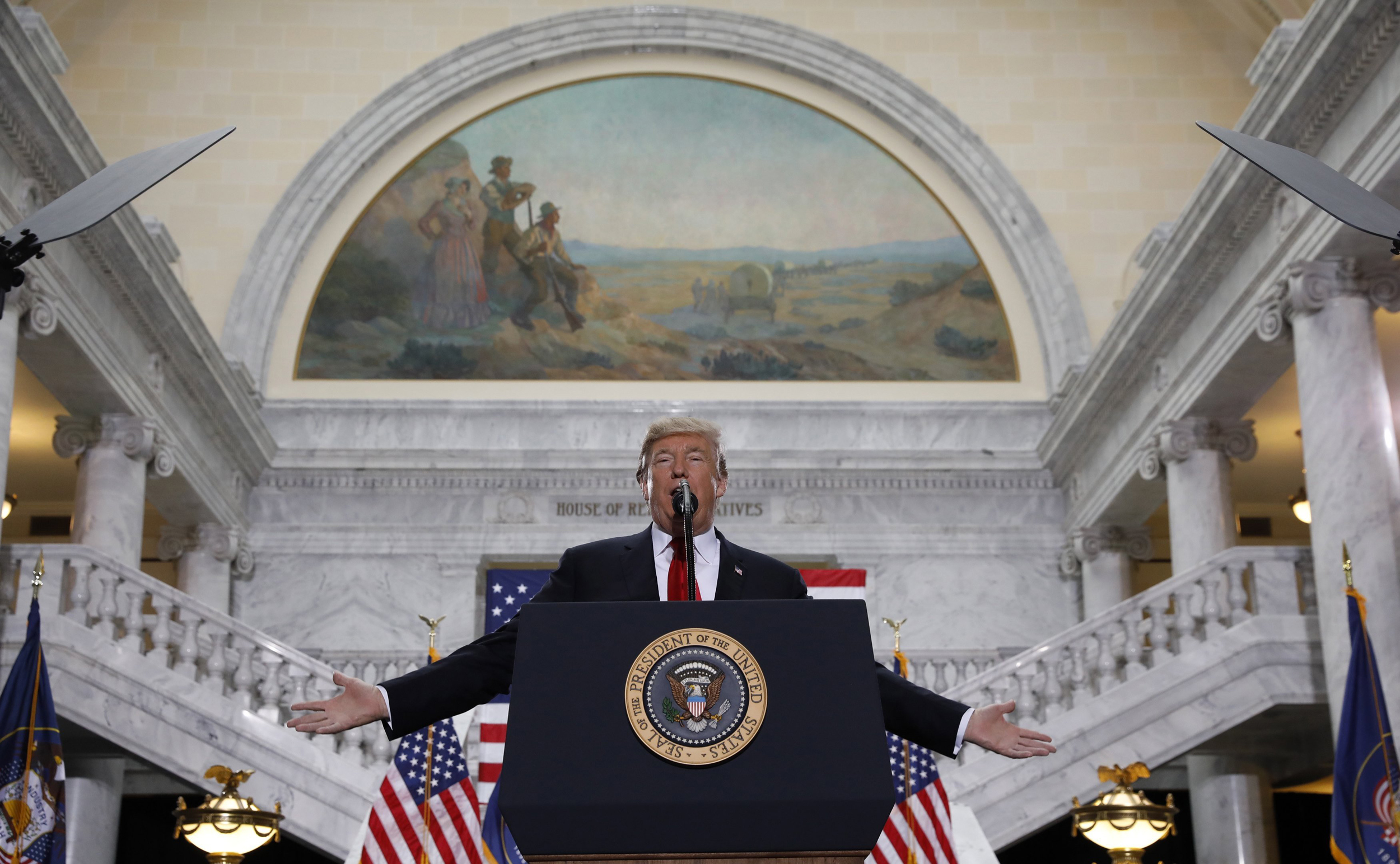Image: President Trump delivers speech at Utah State Capitol in Salt Lake City