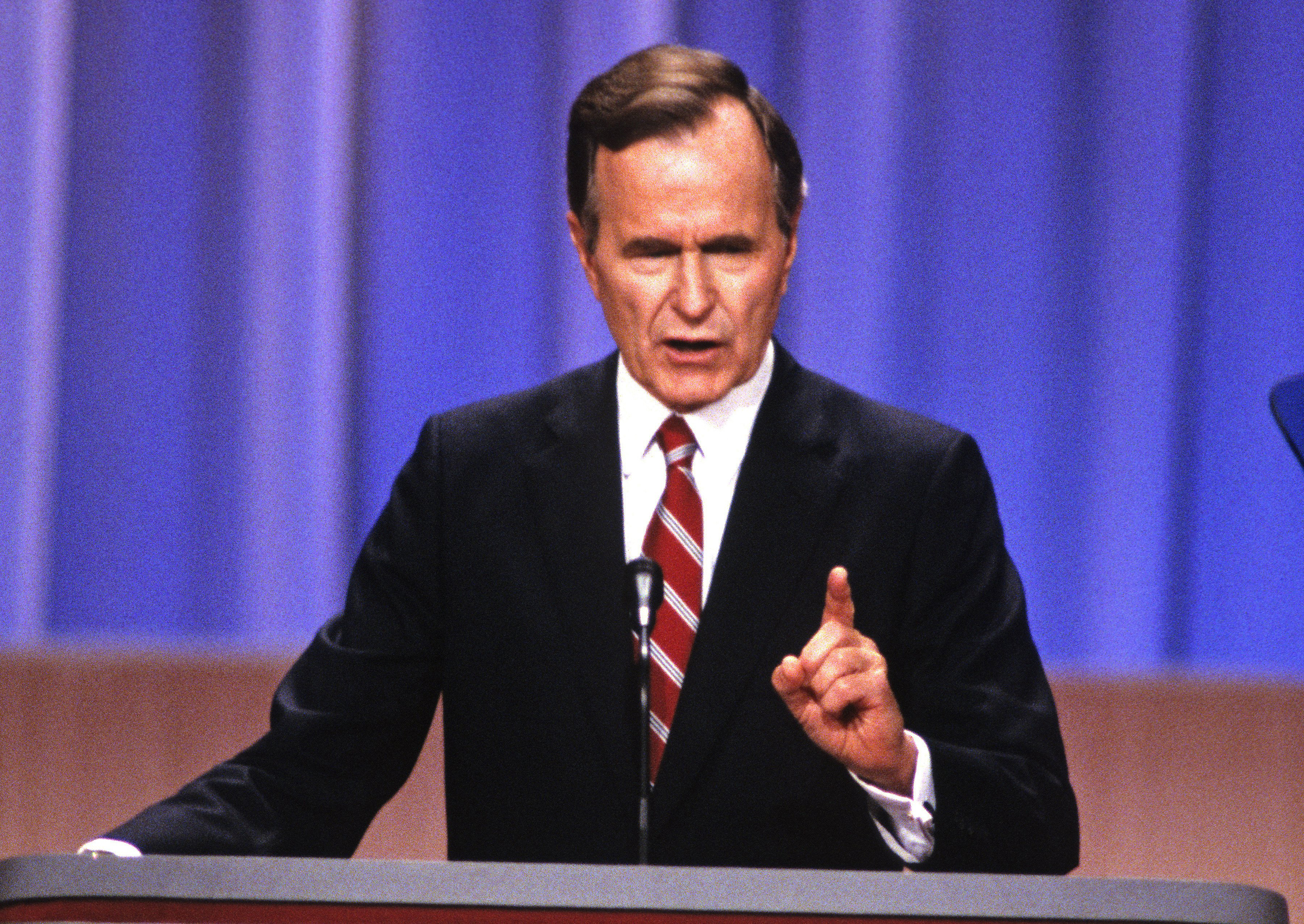 Image: United States Vice President George H.W. Bush at the 1988 Republican Convention at the Super Dome in New Orleans, Louisiana on Aug. 18, 1988.