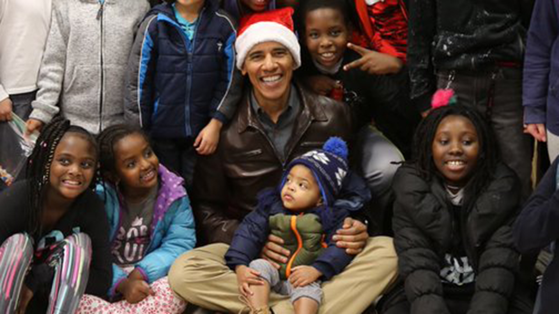 Watch Barack Obama bring Christmas cheer to a group of middle schoolers