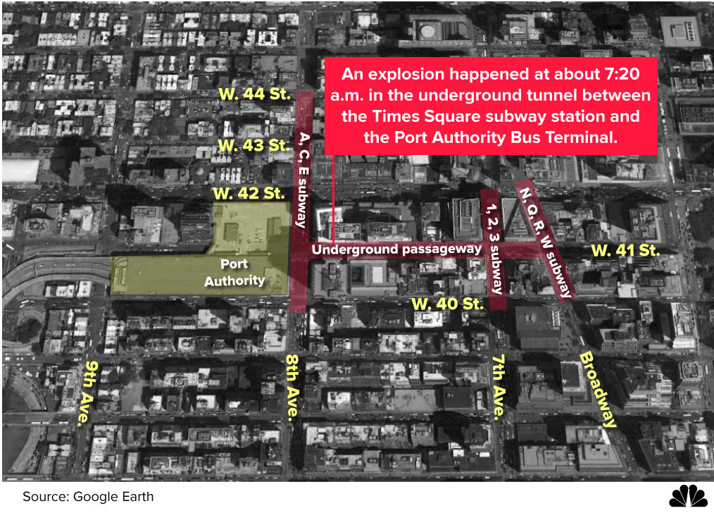 MAP: Underground passageway near both the Times Square subway station and the Port Authority Bus Terminal