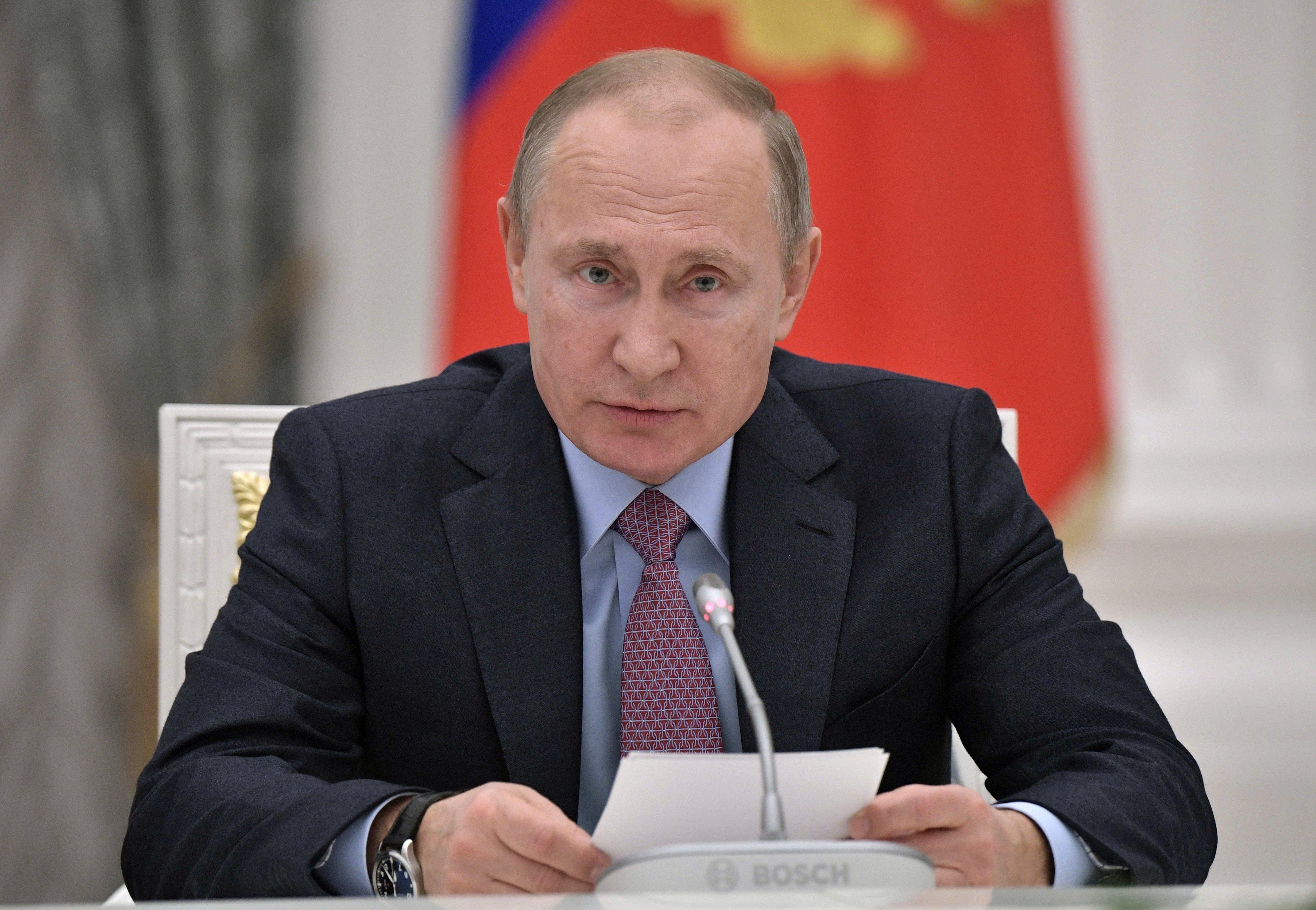 Image: Vladimir Putin pictured at the Kremlin on Tuesday.