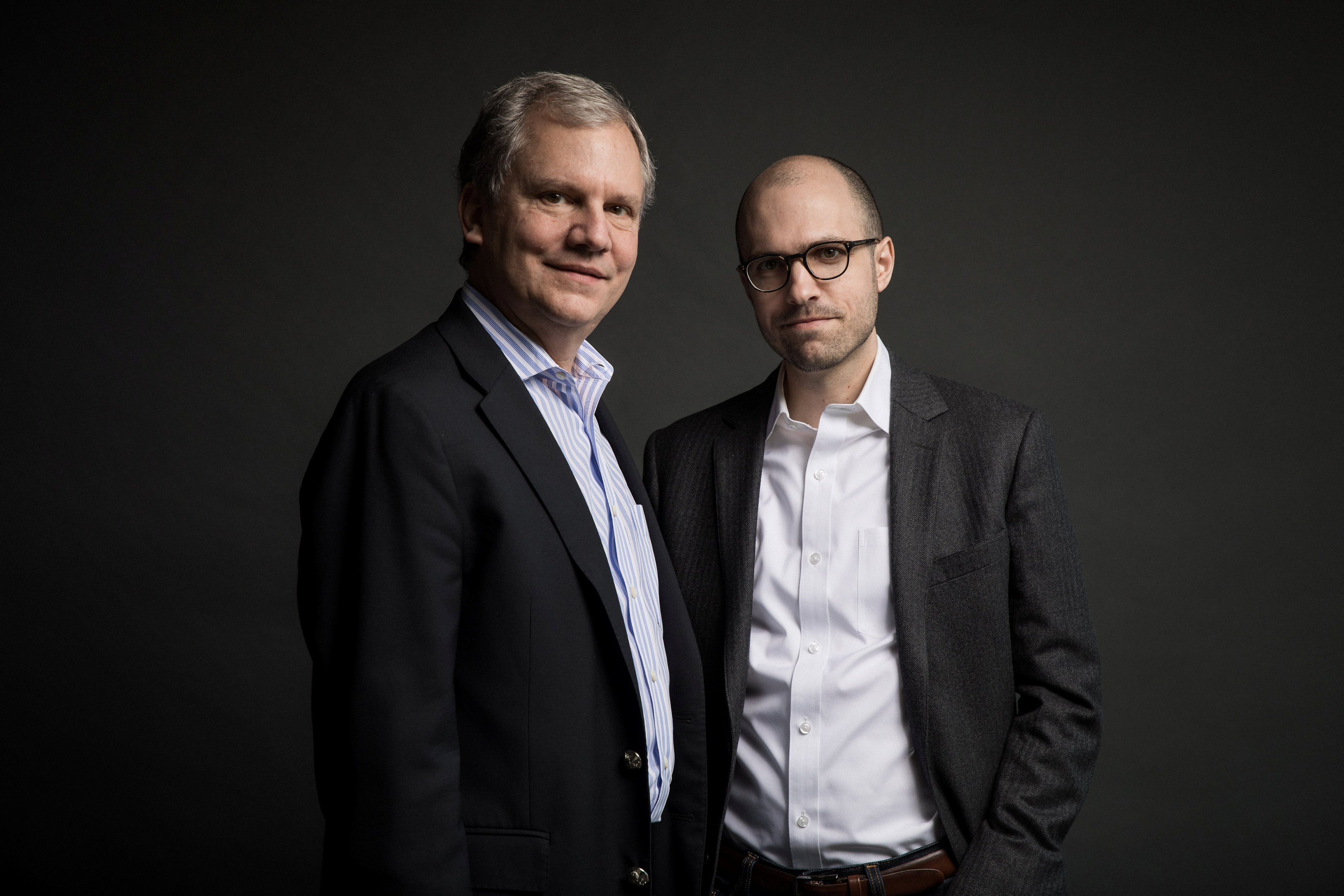Image: Arthur Gregg (A.G.) Sulzberger and his father Arthur Ochs Sulzberger Jr. on the 16th floor of the New York Times building in New York