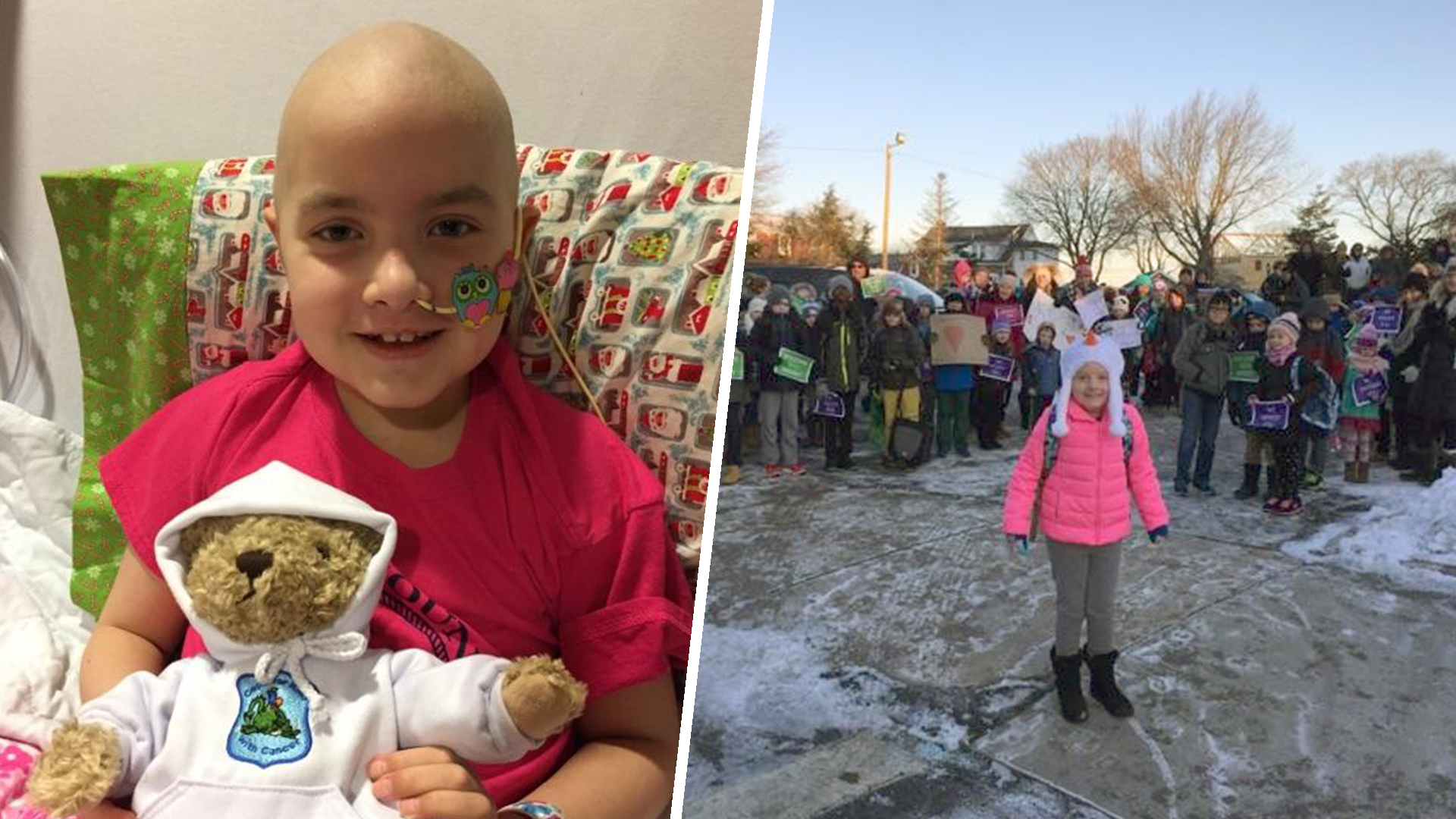 Hundreds welcome 3rd-grader back to school after fight with cancer