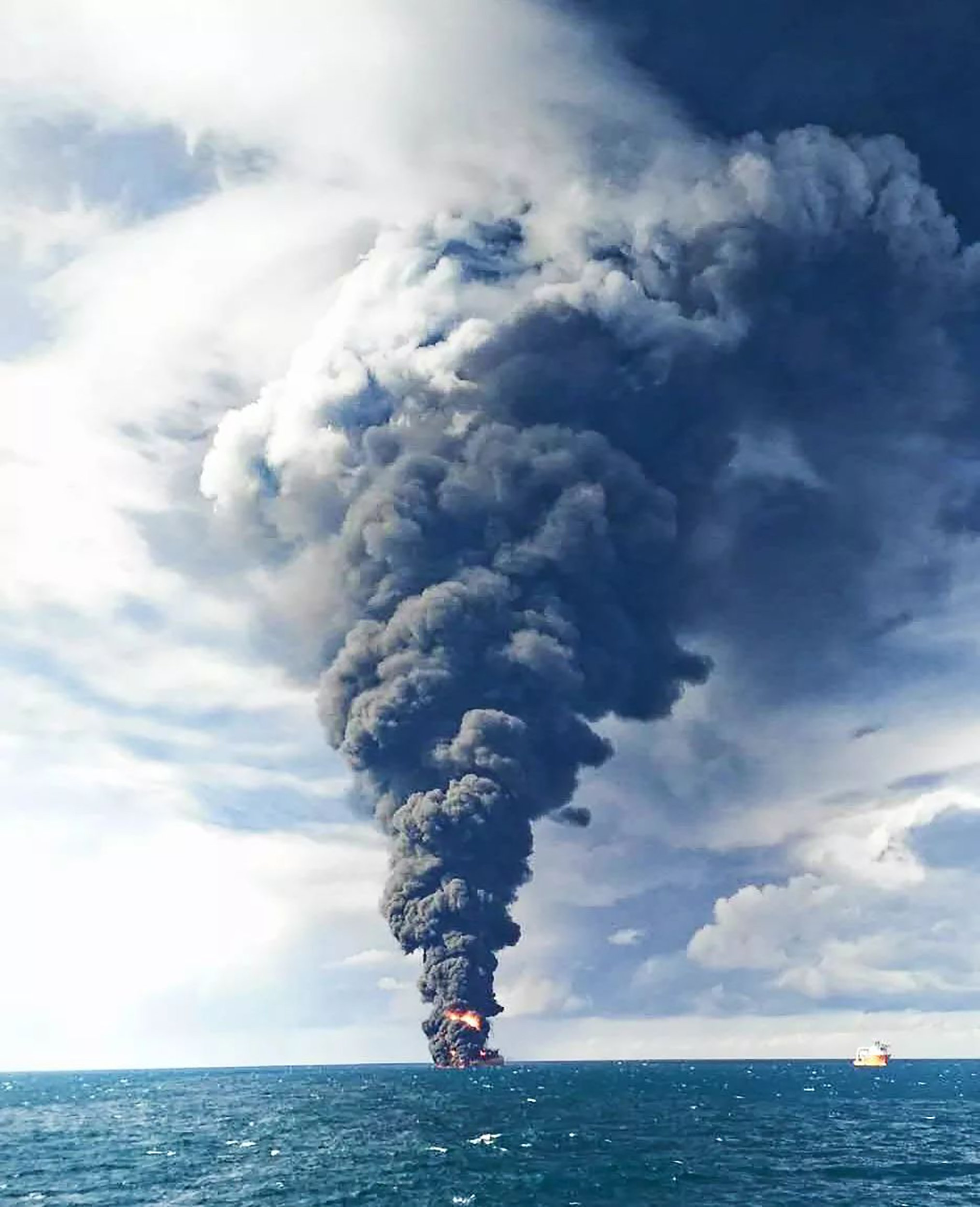 Iranian oil tanker explodes in plume of smoke before finally sinking