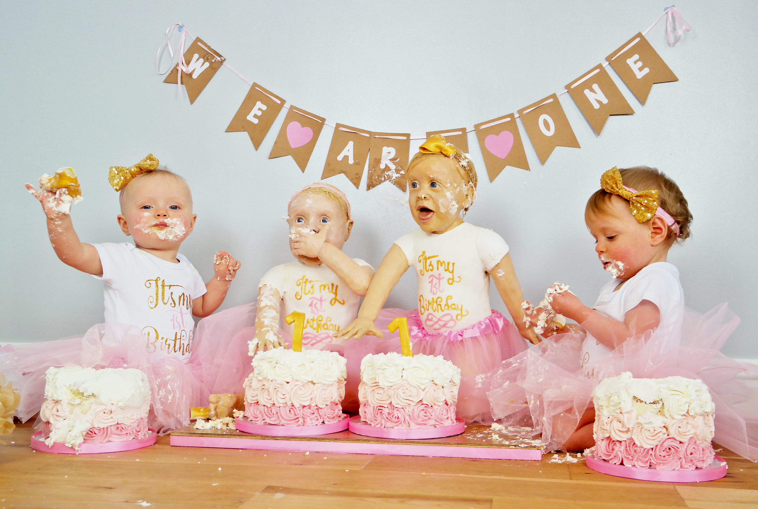 Twin Girls Look Exactly Like Their Life Size Birthday Cakes