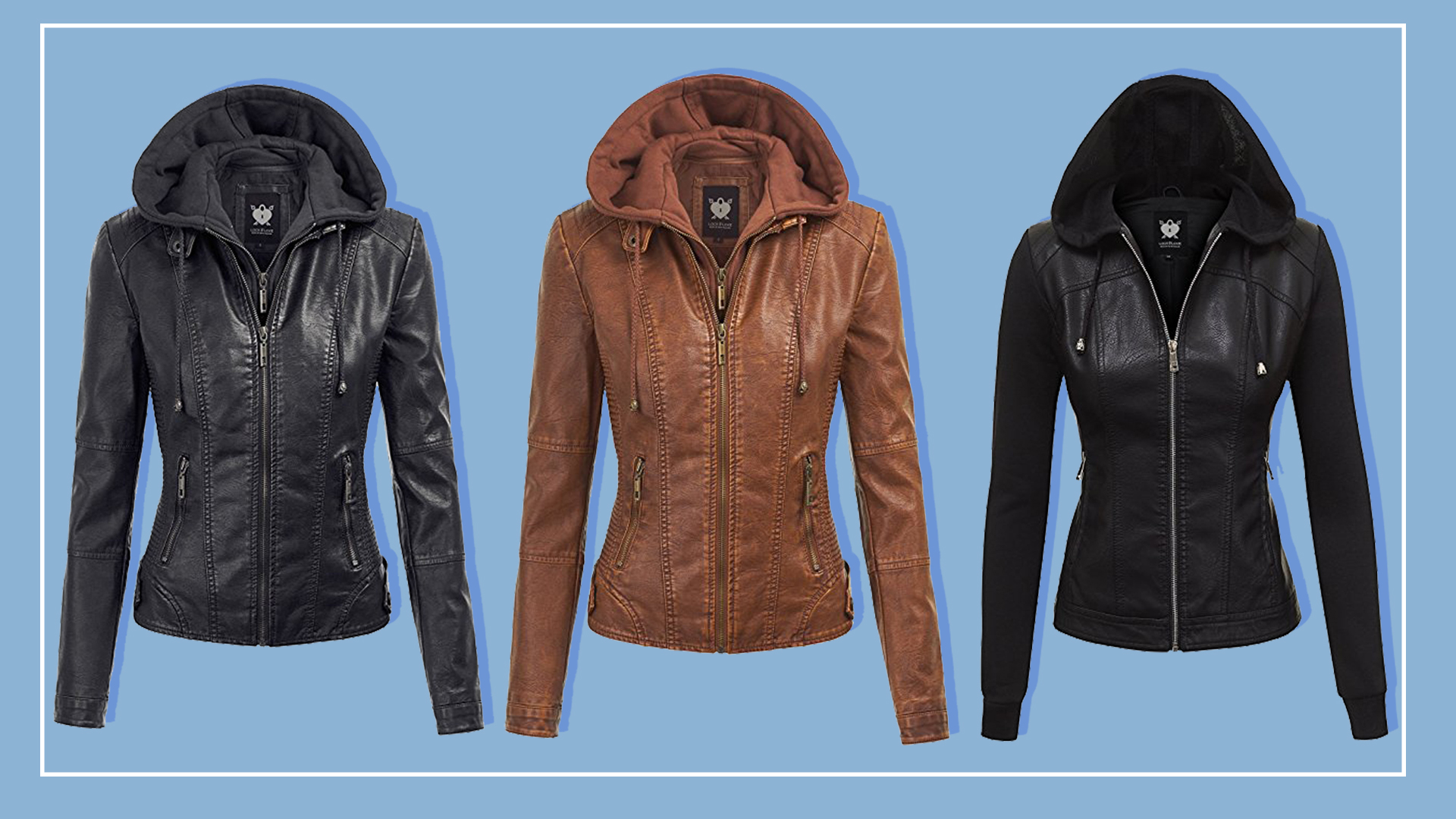 The best, affordable faux leather jacket is $60 on Amazon