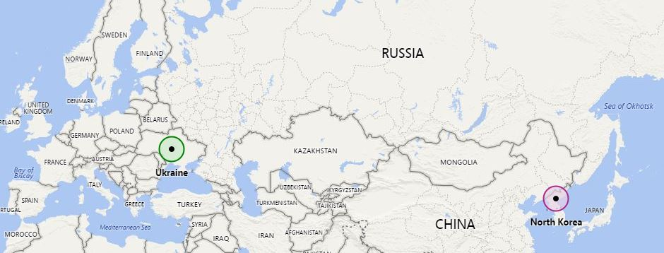 Image: A map showing Ukraine and North Korea