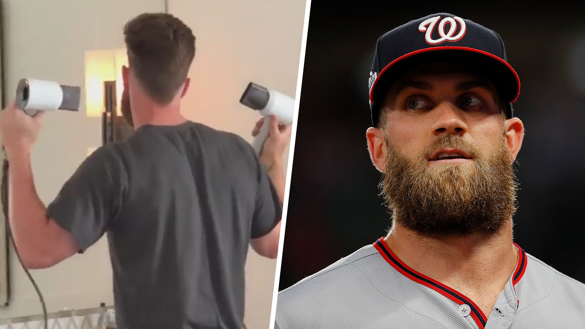 Bryce Harpers Brother Catches Him Using 2 Hair Dryers