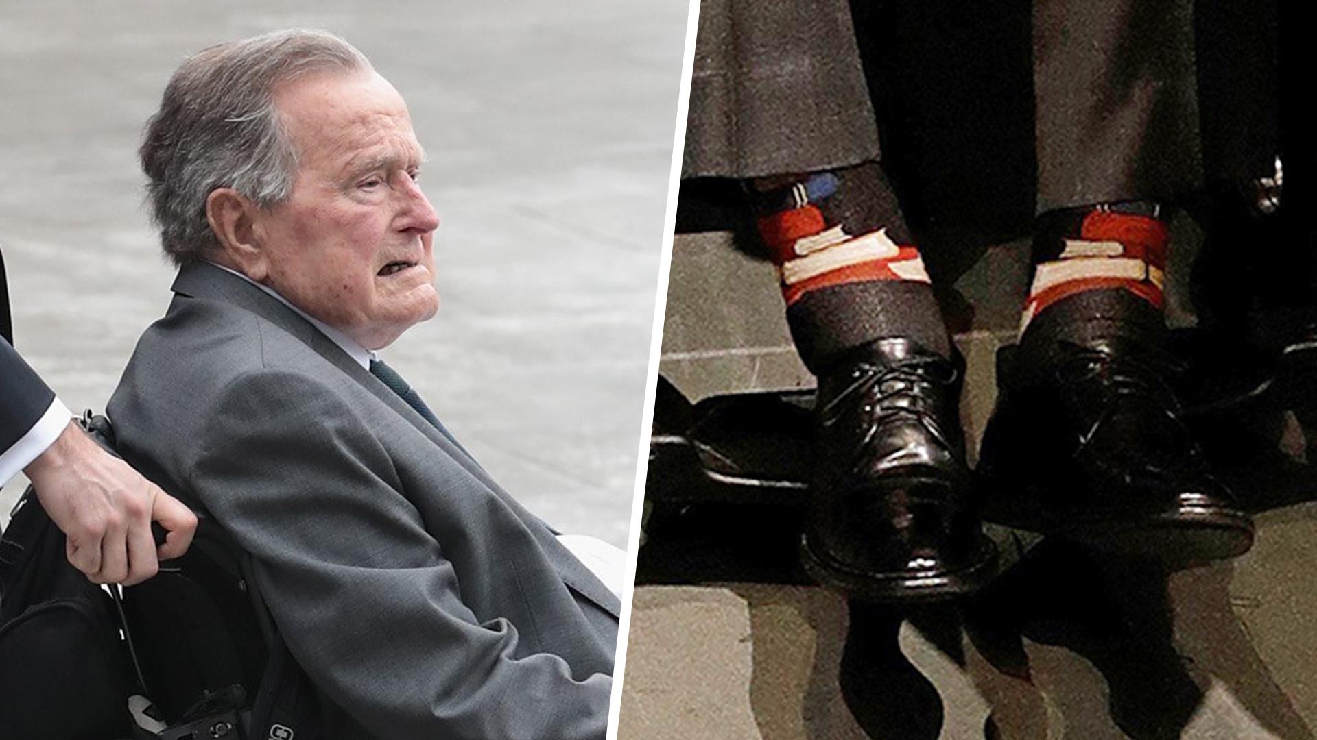 George H W Bush Wears Book Socks In Tribute To Barbara S Legacy