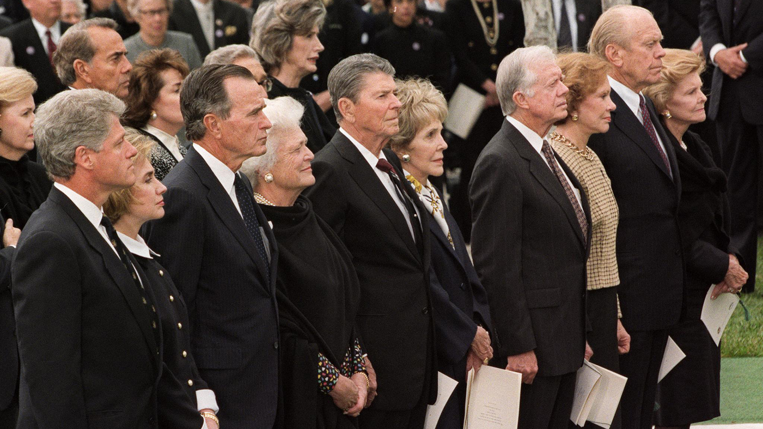 photo of former U.S. presidents at Richard Nixon's funeral