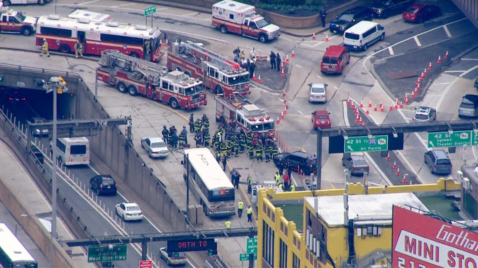 Dozens injured when two buses crash at NYC tunnel