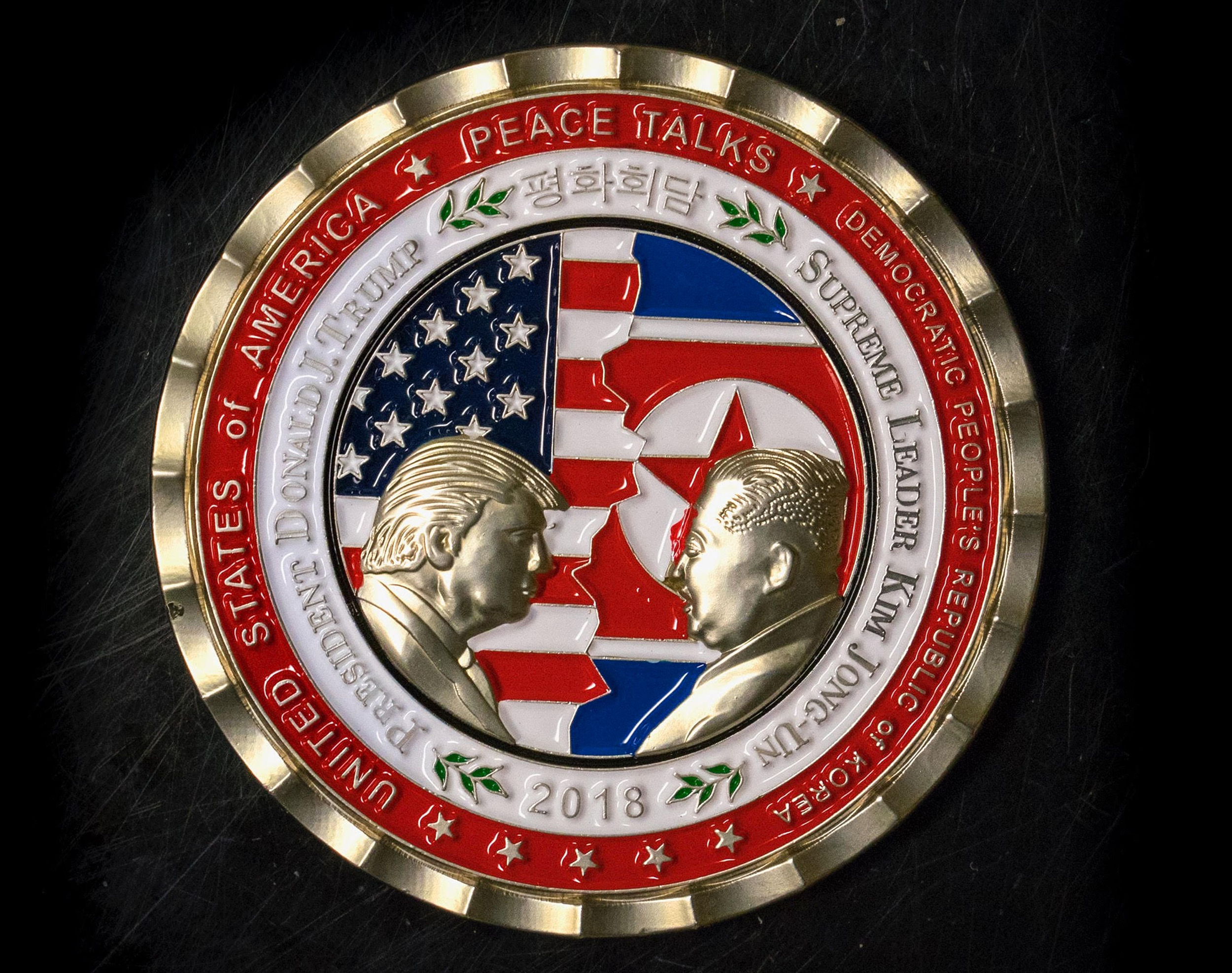 a kim trump is medallion korea line coin collectible news summit us north al punch