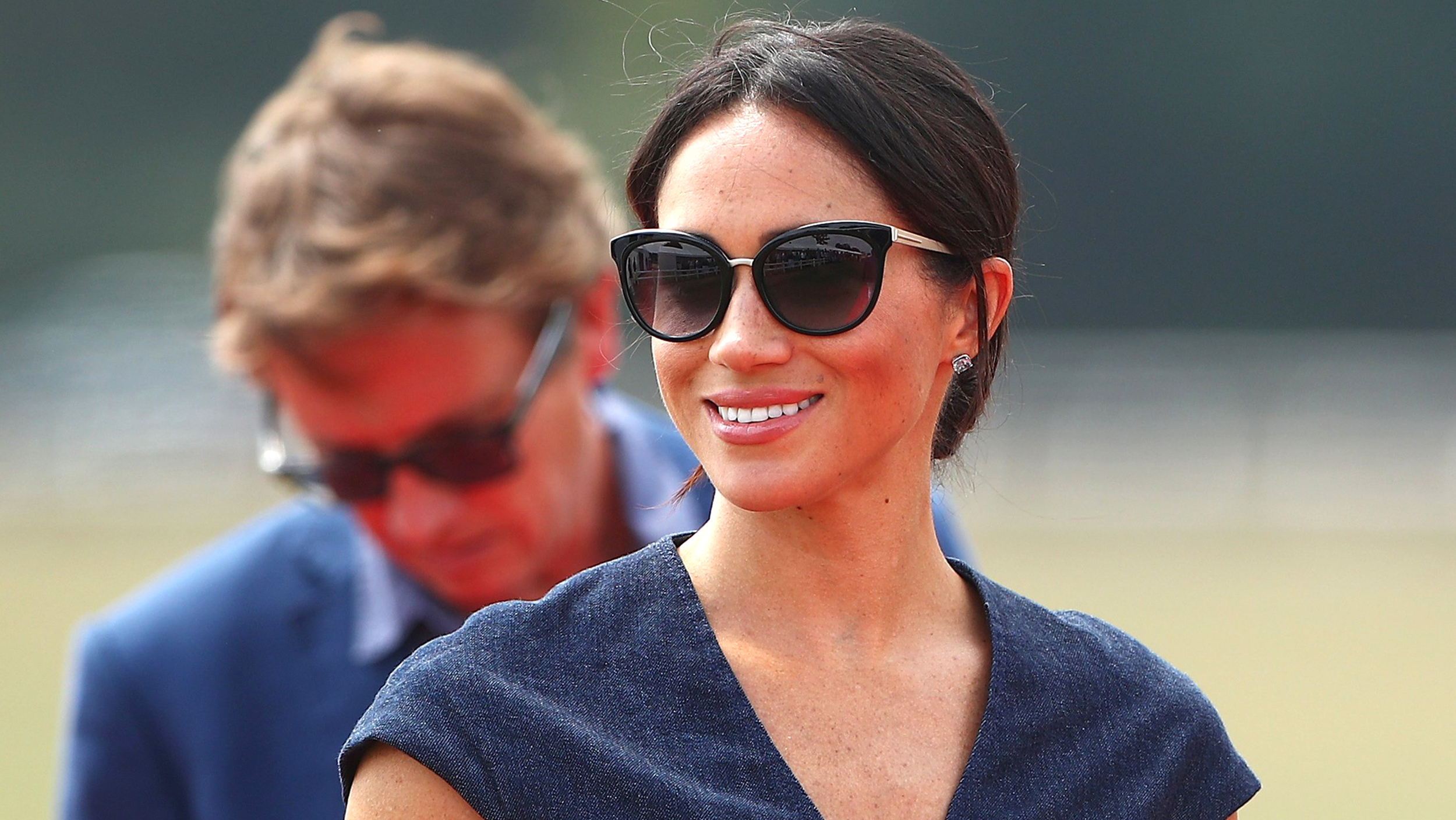 9f9cc91562 Former Meghan Markle Duchess of Sussex wears denim dress to polo match