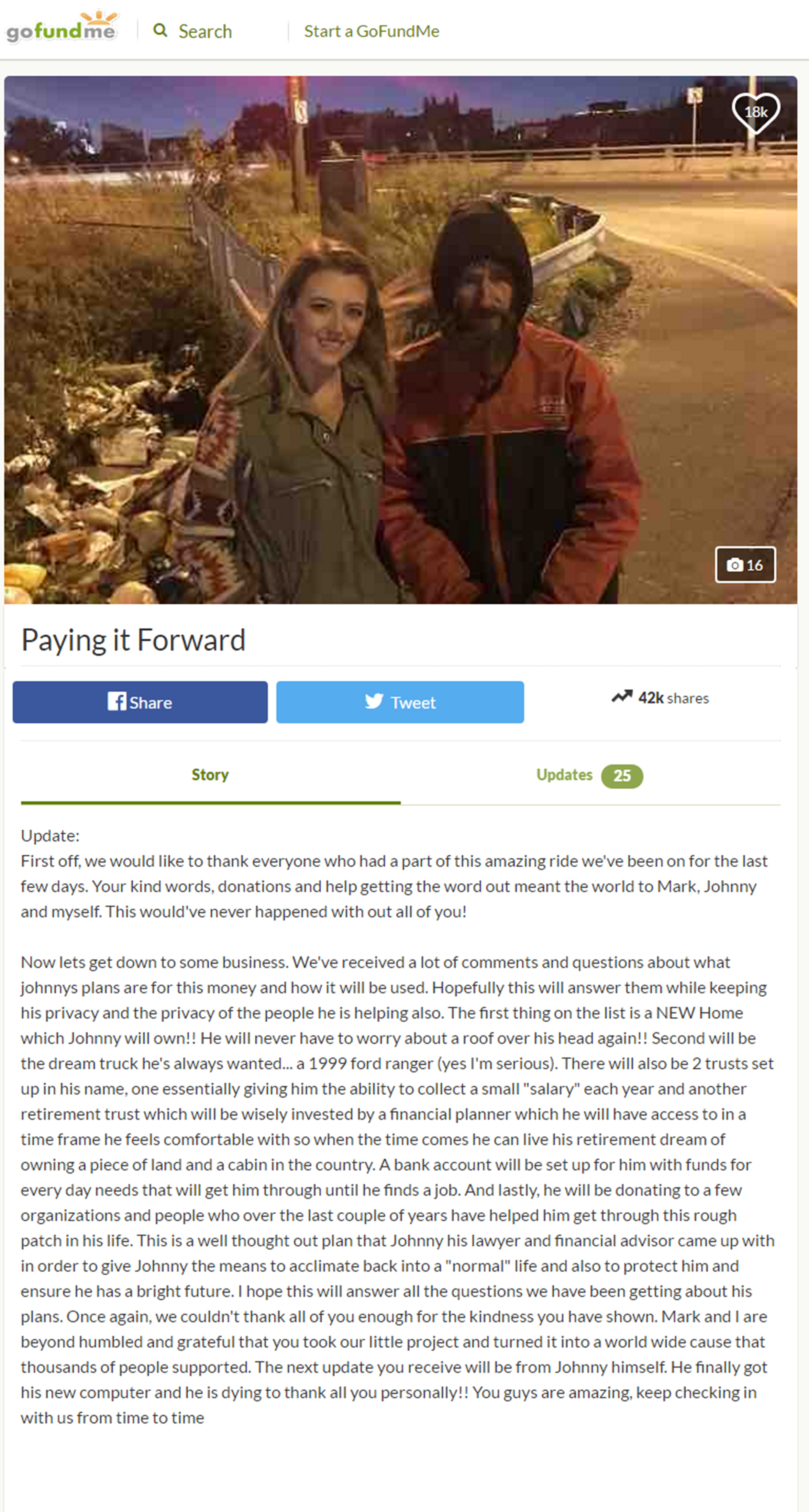 Homeless veteran says couple who raised $400,000 for him is