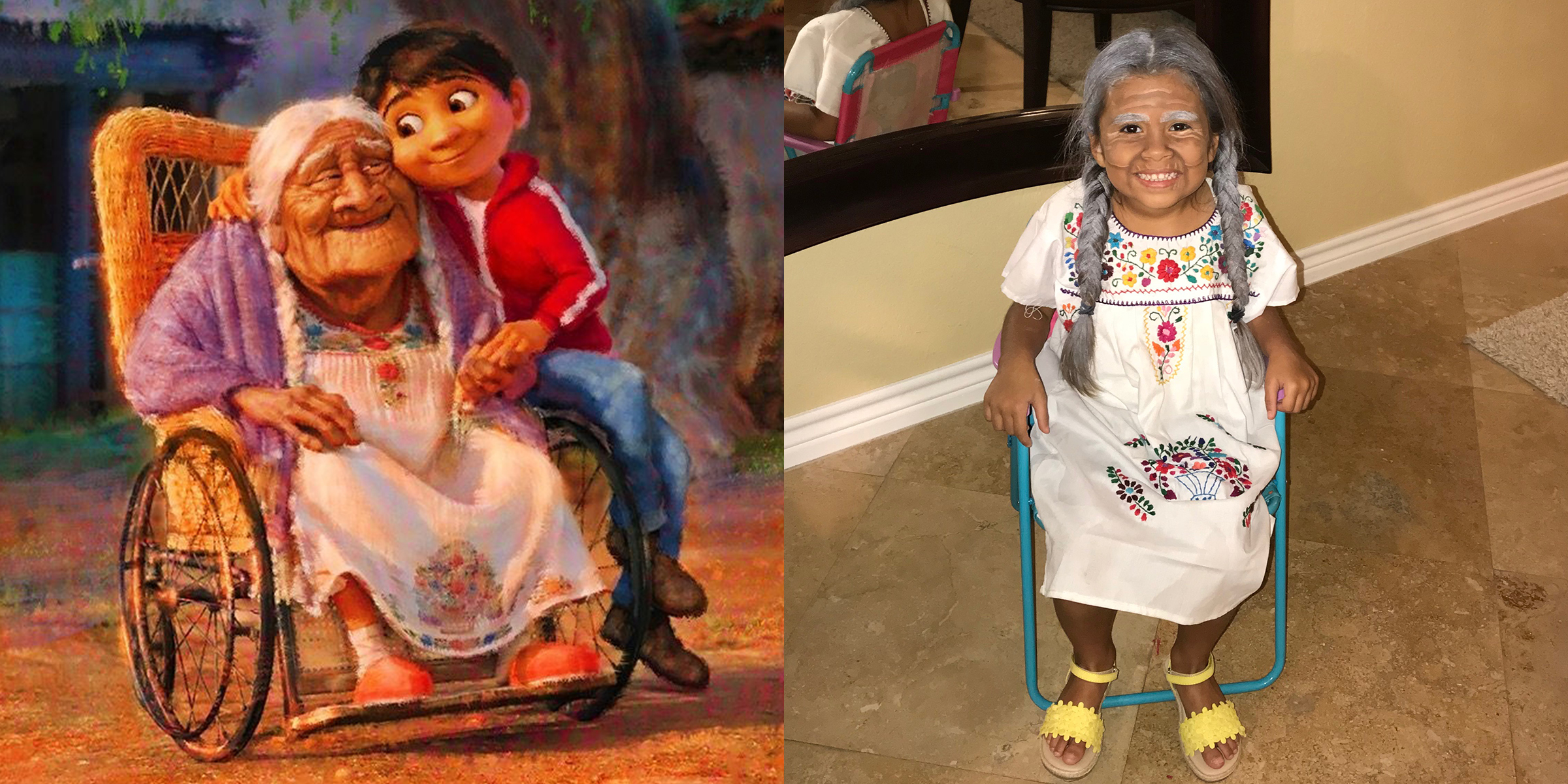 mom dresses daughter like mama coco from pixar movie coco