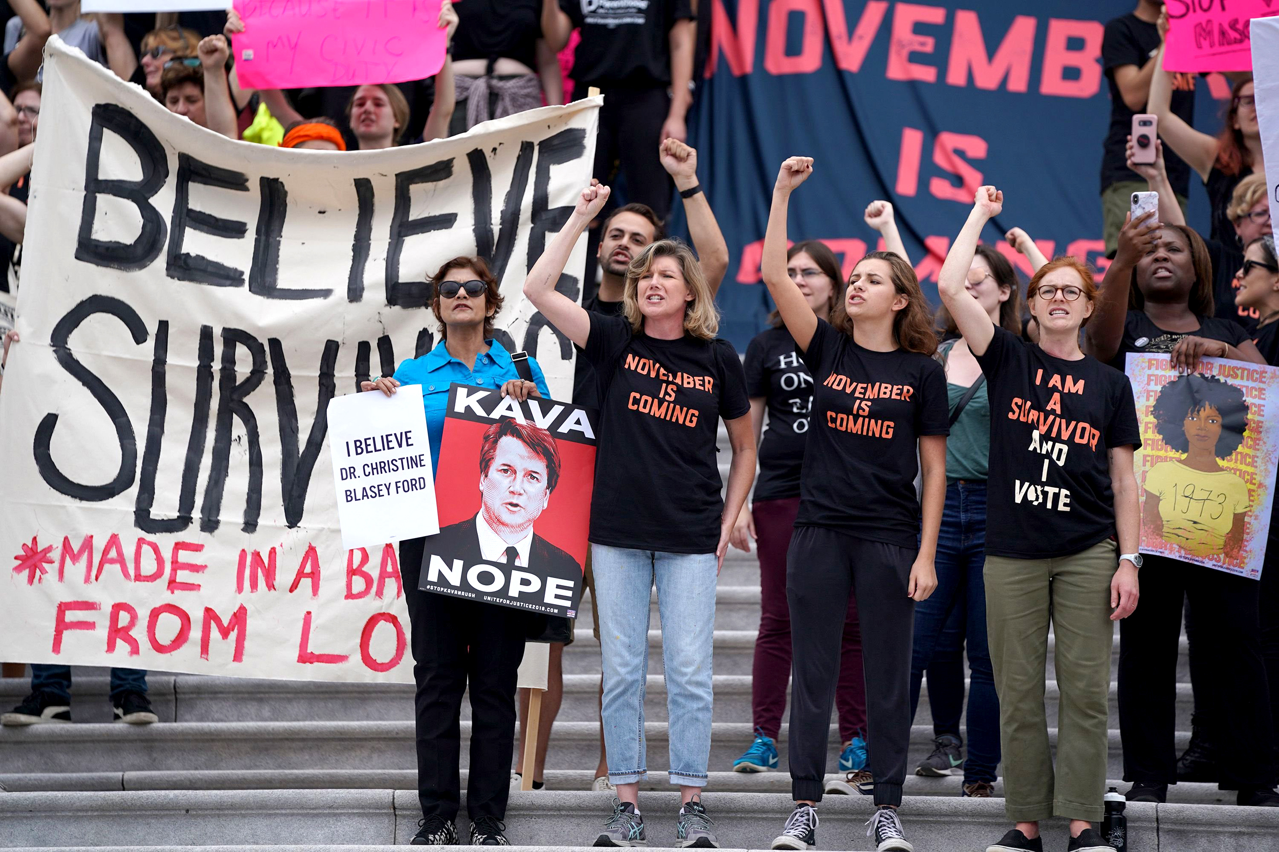 18bf4fdc Protesters pound the doors of the Supreme Court following Kavanaugh  confirmation