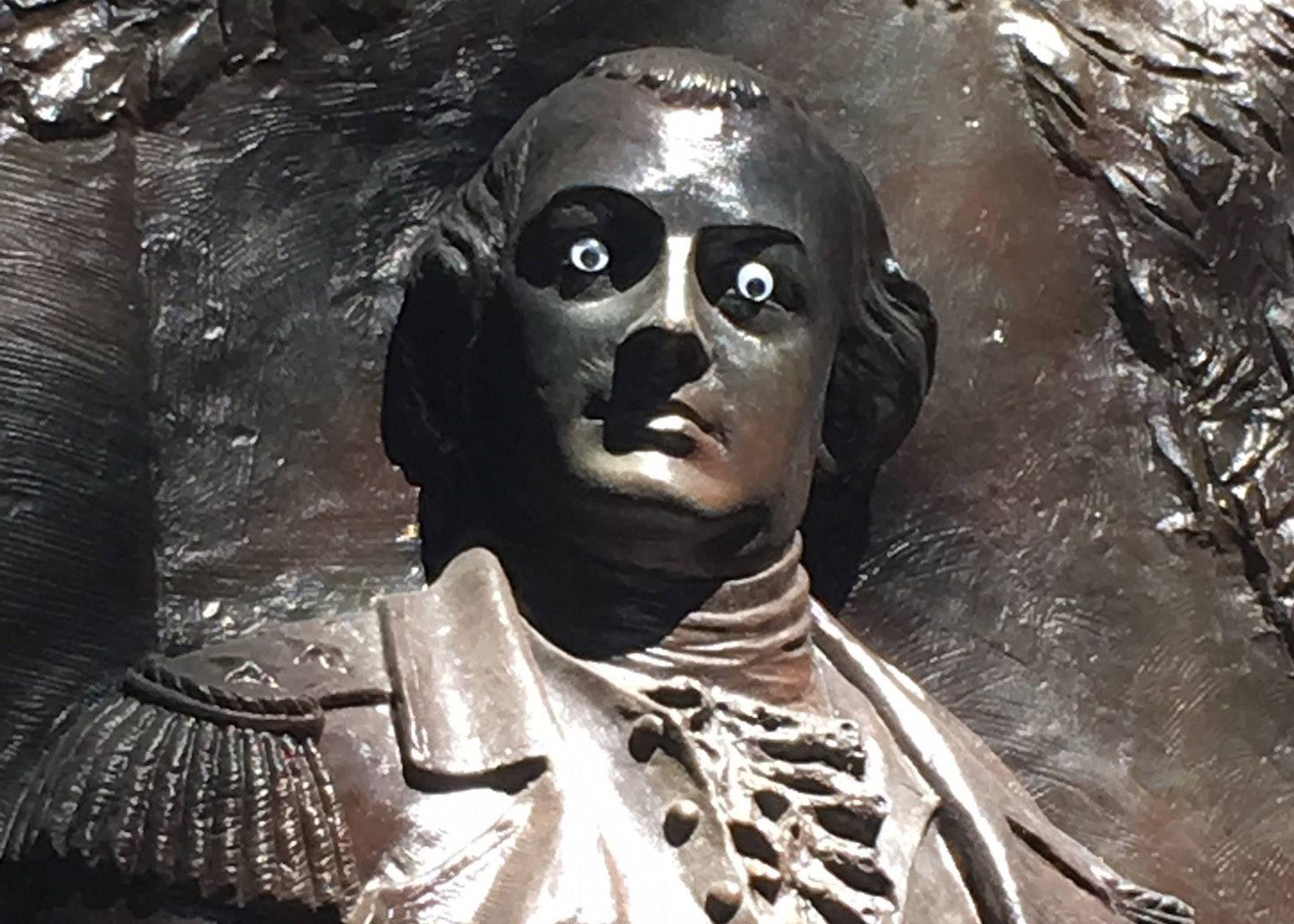 Vandalism Of Revolutionary War Statue With Googly Eyes Prompts Police Probe
