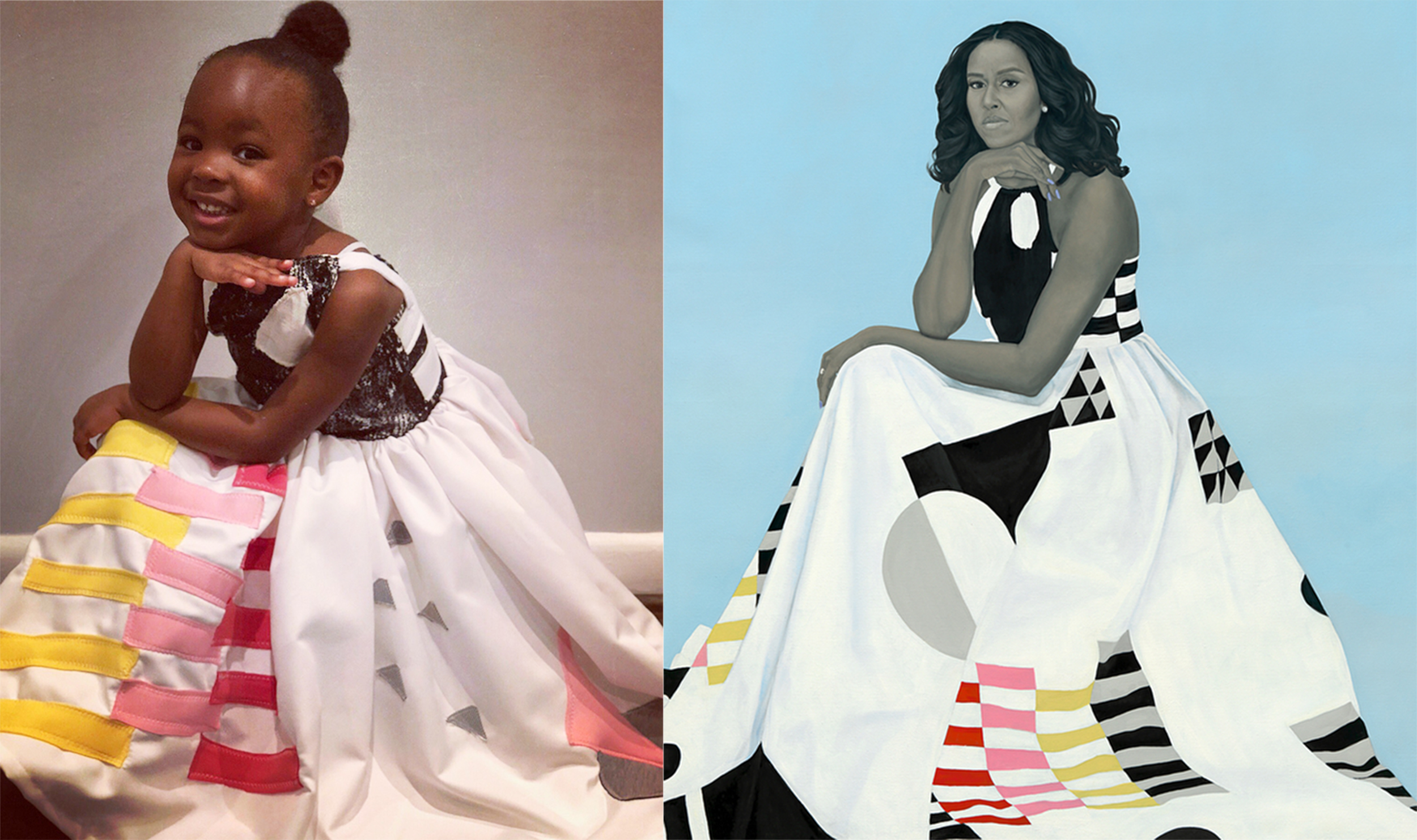 little girl entrancedmichelle obama portrait returns the favor