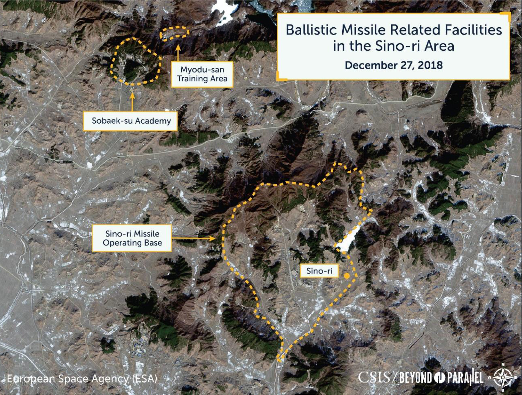 Overview of the Sino-ri Missile Operating Base, Sobaek-su Academy, and Myodu-san training area