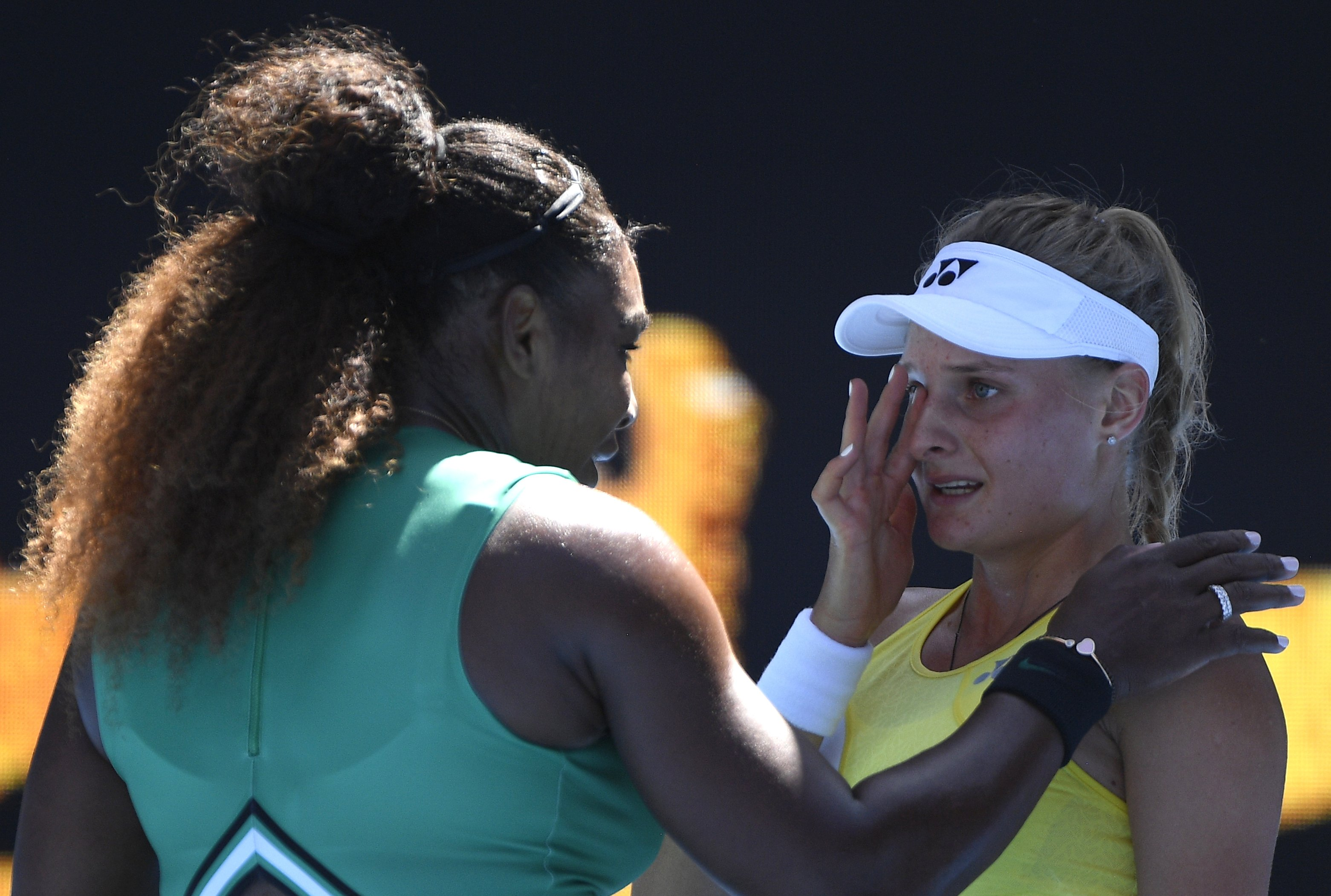 Serena Williams consoles weeping foe after sweeping into Australian Open 4th round