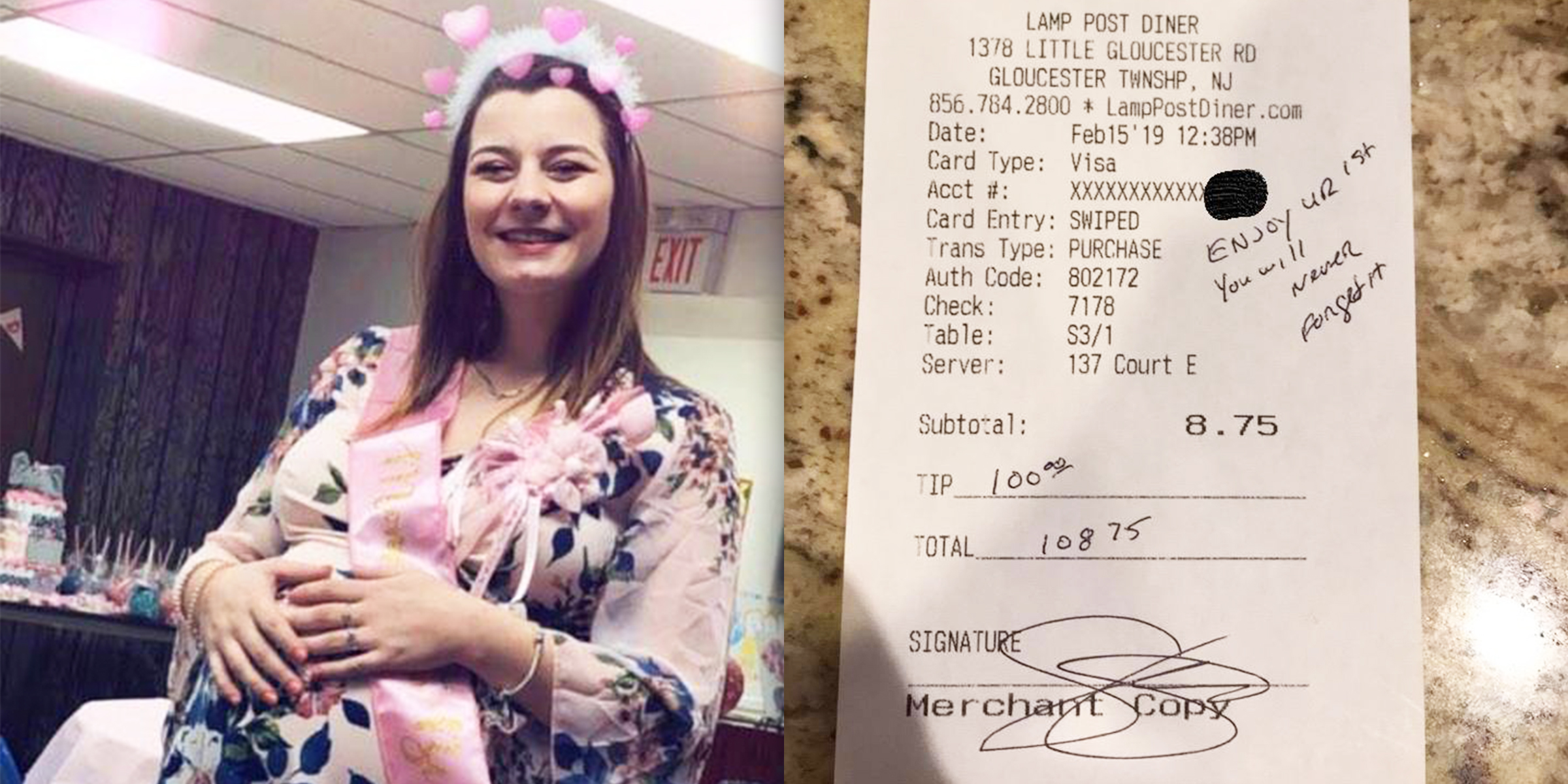 Police officer left pregnant waitress in New Jersey a $100 tip
