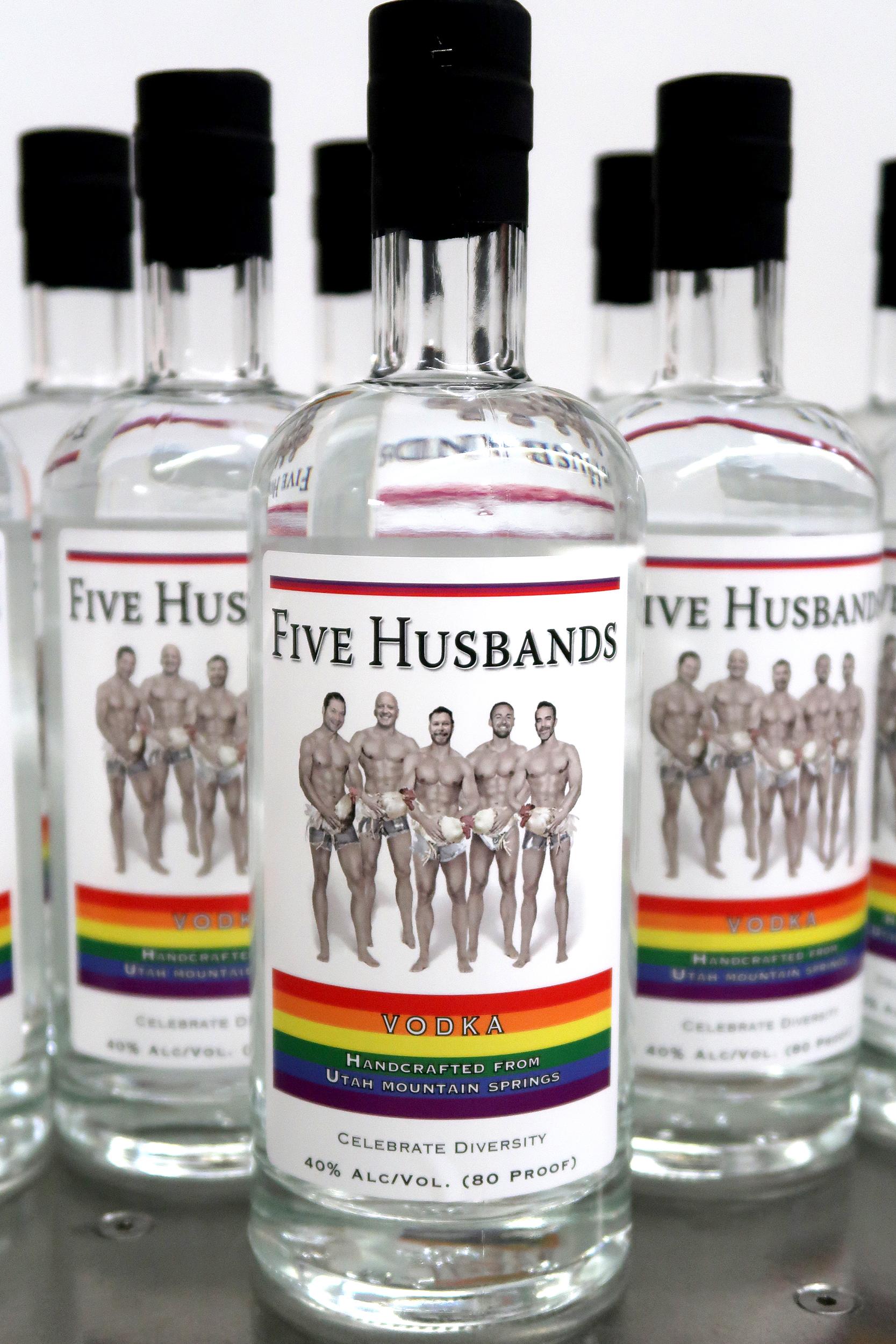 Utah distiller unveils gay-themed 'Five Husbands' vodka for pride festival