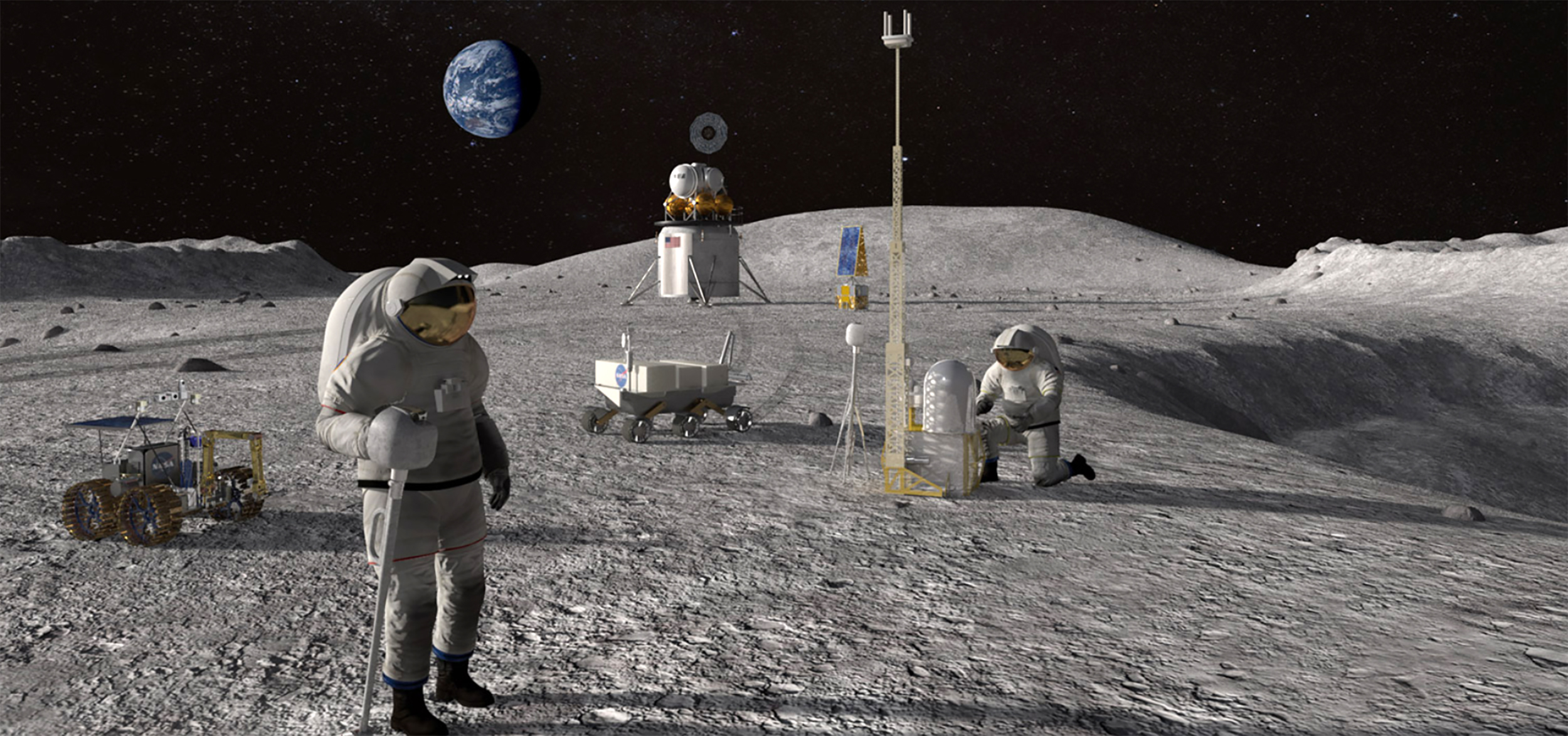 Image: Illustration of astronauts and robots on the moon.