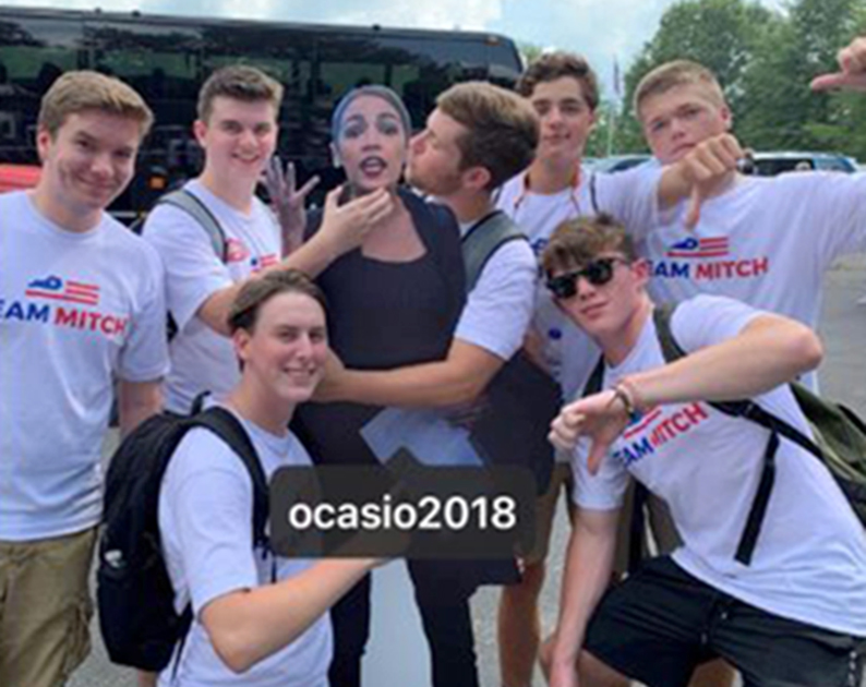 AOC slams image of young men 'groping & choking' cutout in 'Team Mitch' shirts