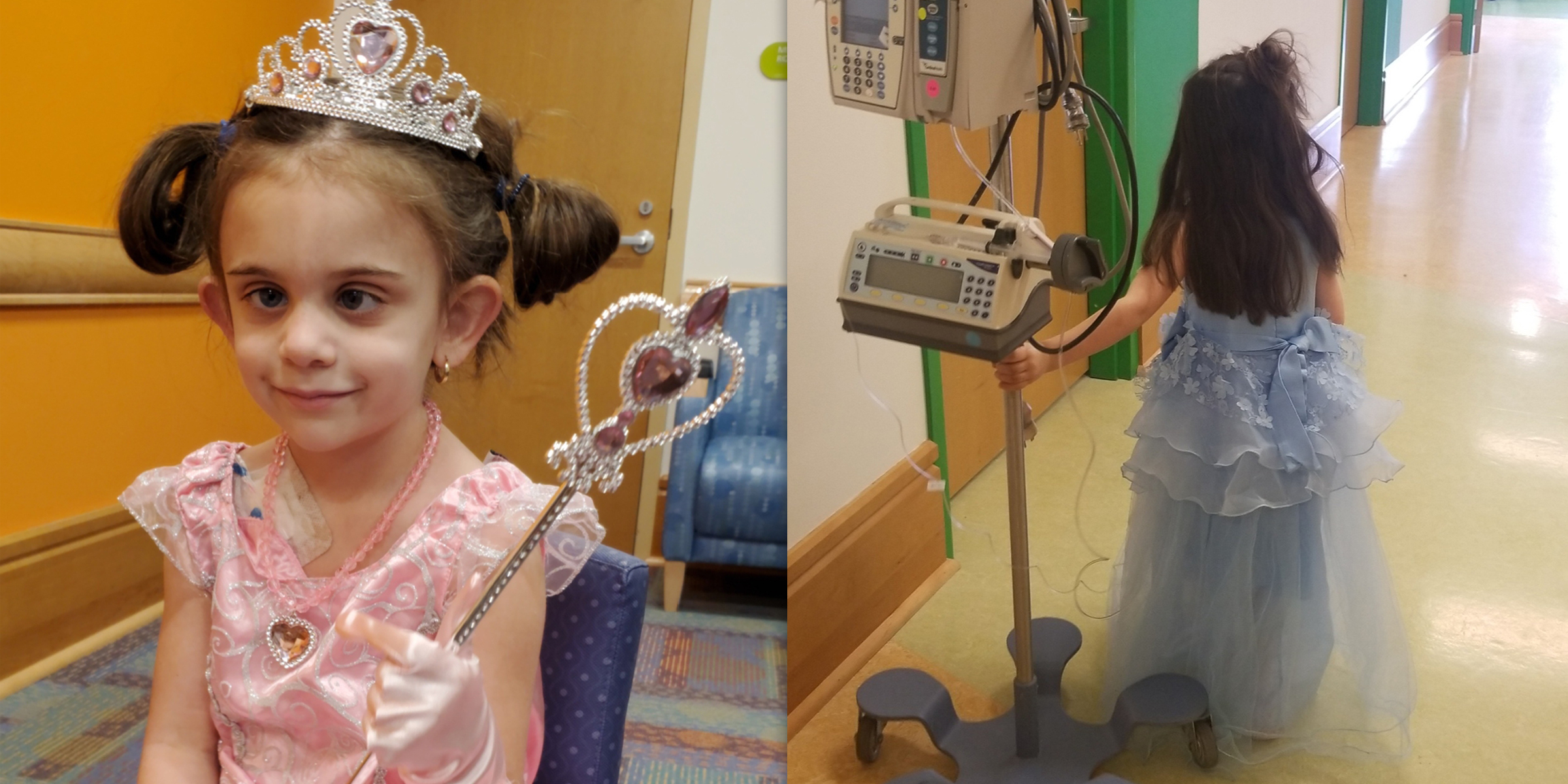 5-year-old girl wears a different princess gown to each chemotherapy treatment