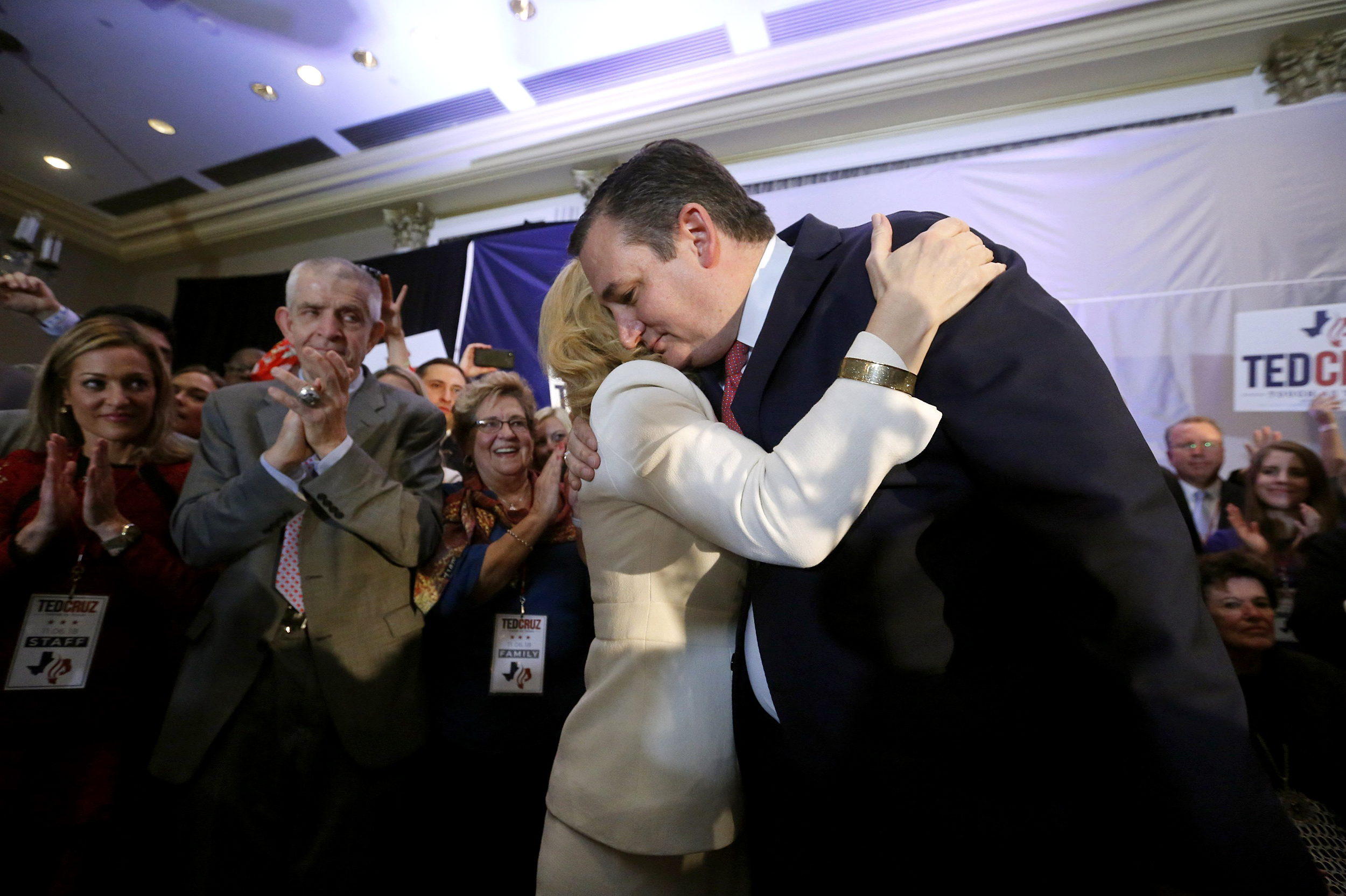 Image: Republican U.S. Senator Cruz embraced by wife Heidi at his midterm election night party in Houston