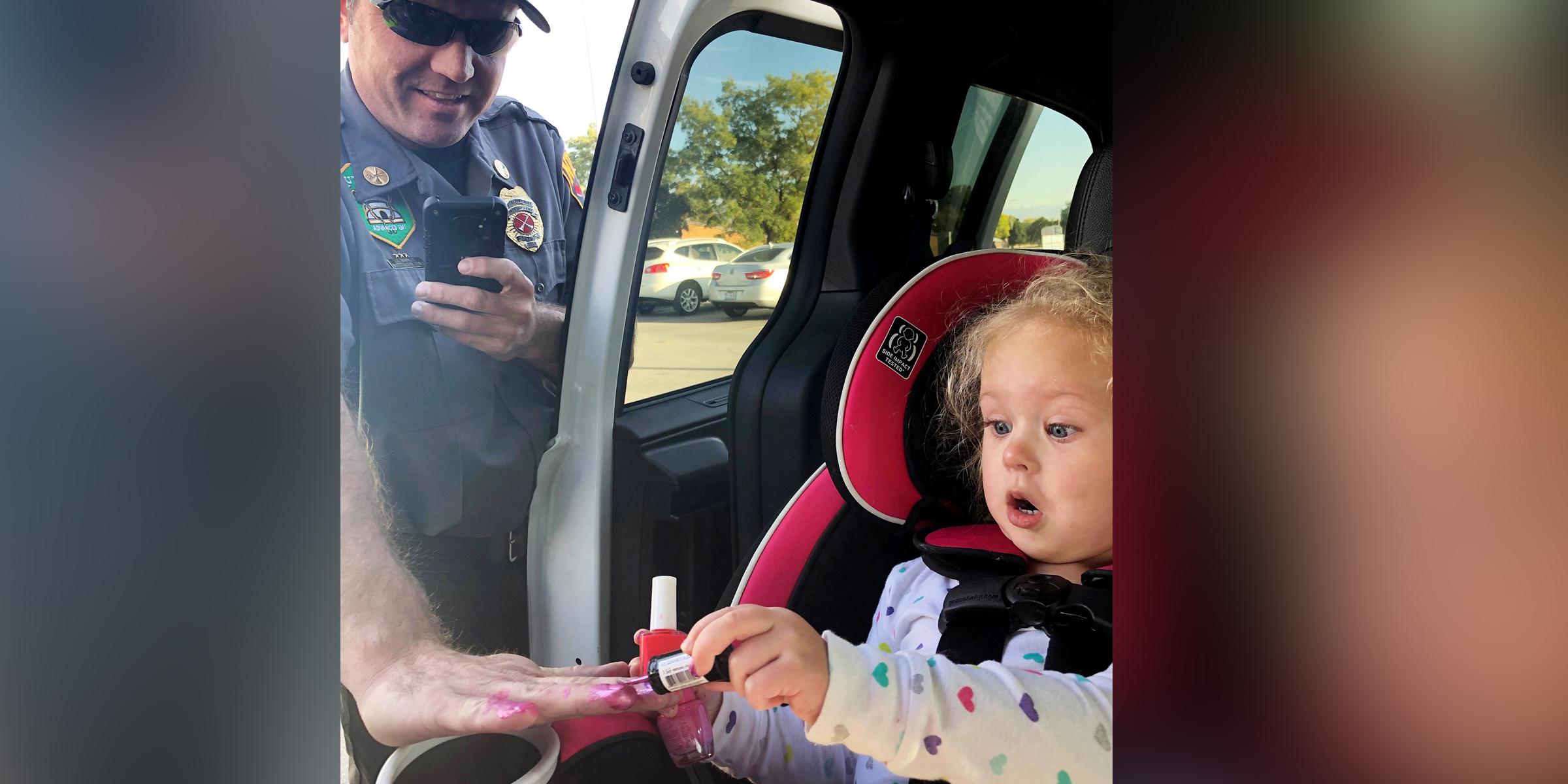 Image result for Firefighters Soothe 'Very Scared' Little Girl By Asking Her to Paint Their Nails After She Was in a Car Crash
