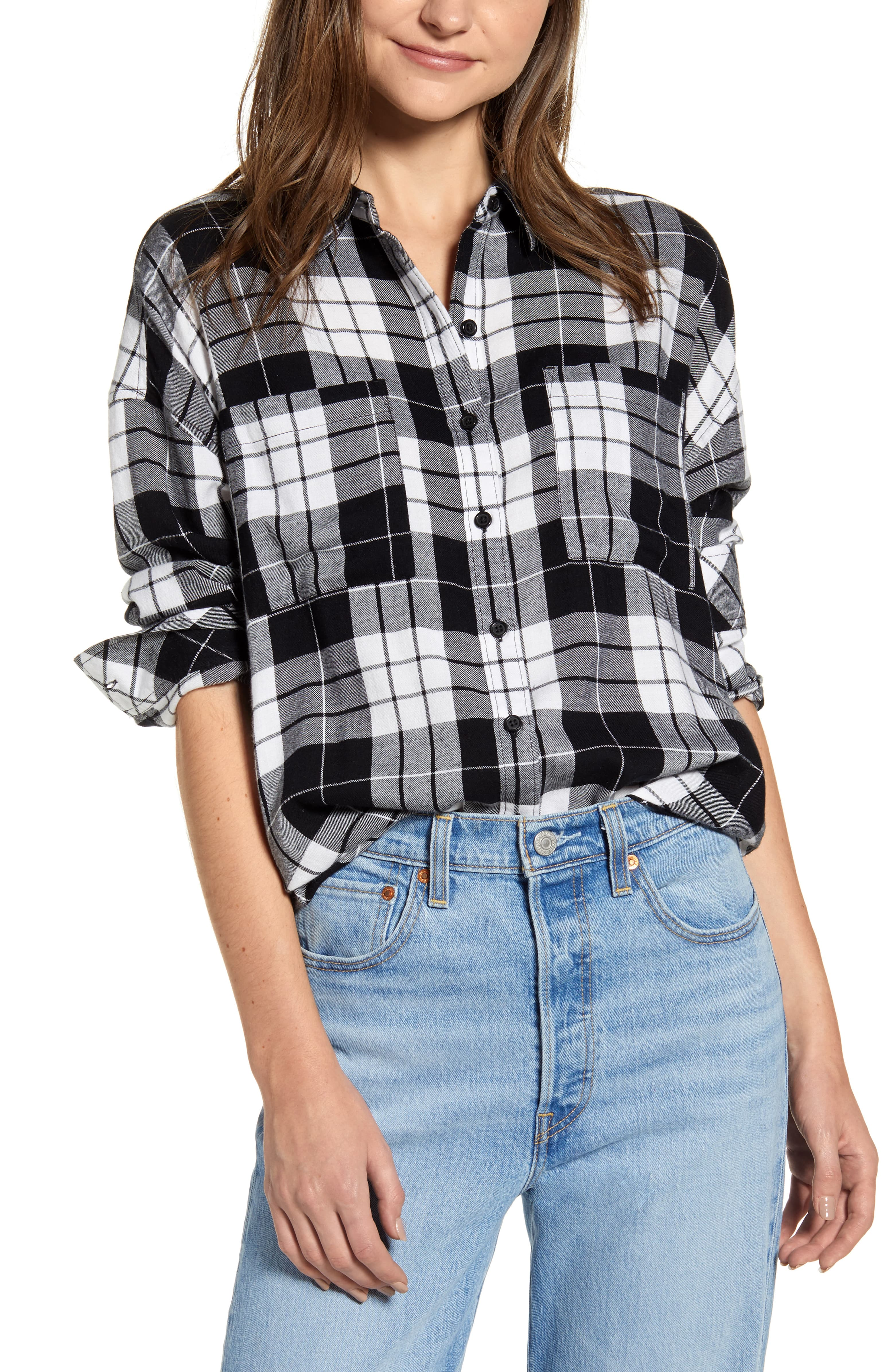 Women/'s Plaid Flannel  Button-Down Cotton Long Shirt Dress in Black NEW