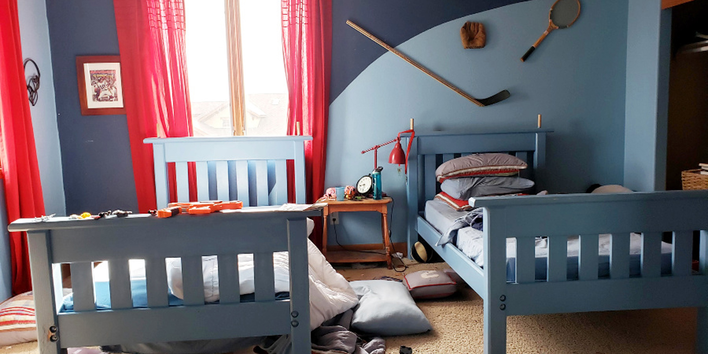 Boys' room get the coolest makeover with a rock climbing wall and more