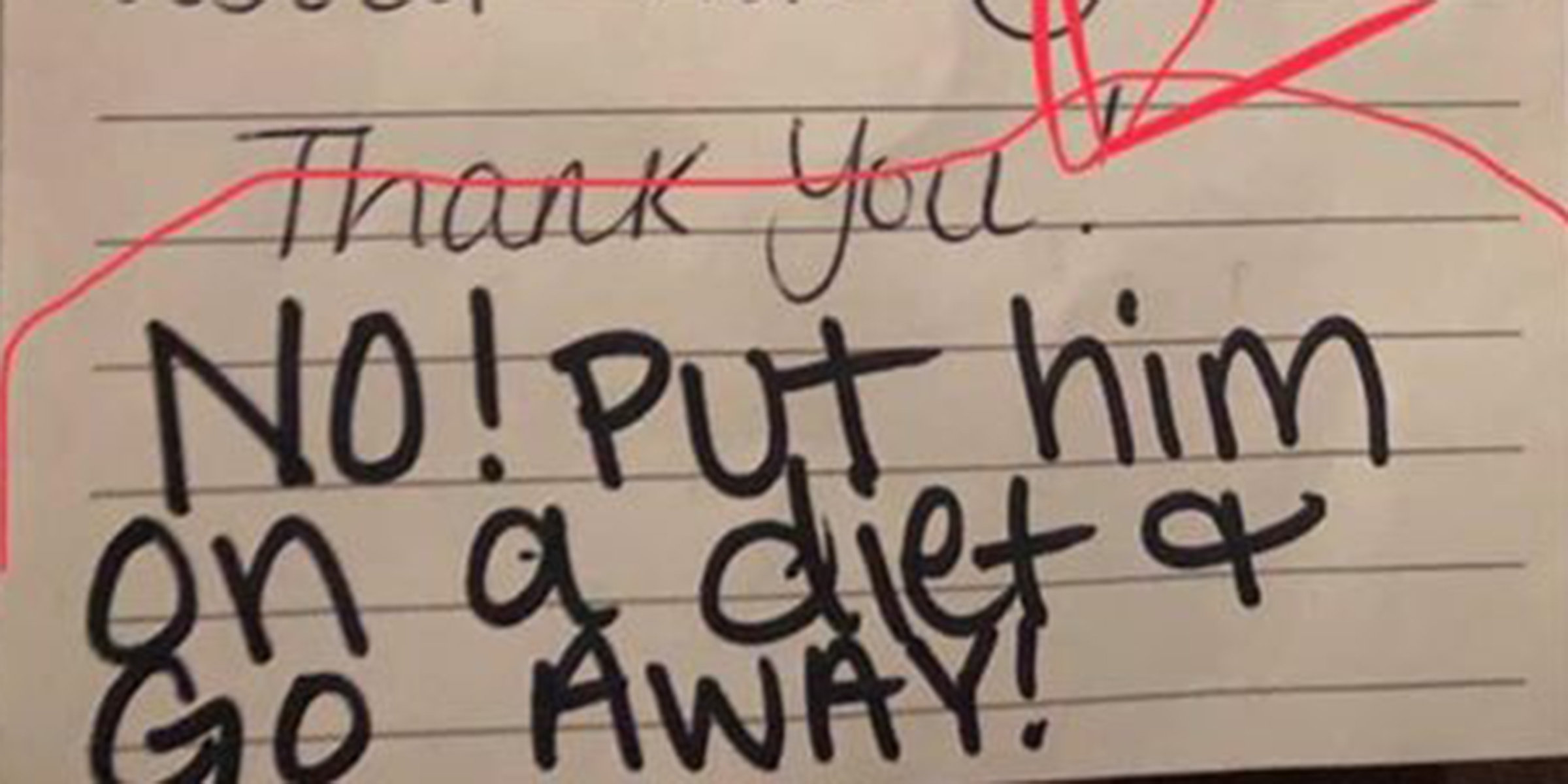 Day care worker tells mom to put son on a diet in note