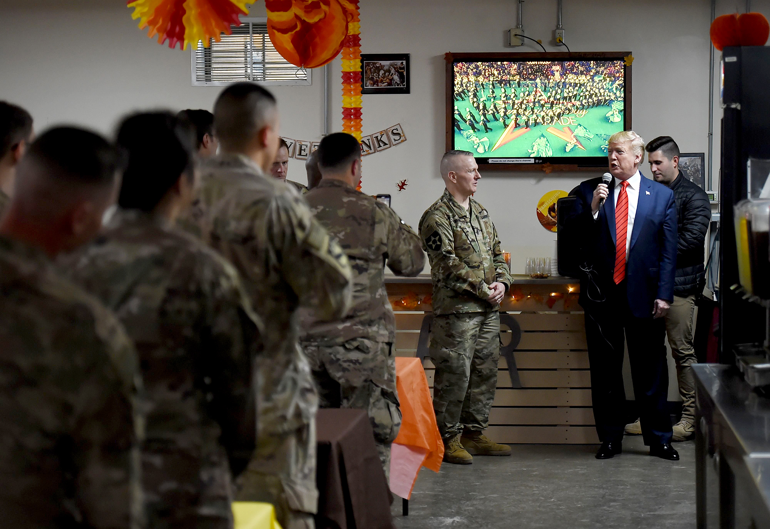 Trump makes surprise Thanksgiving visit to troops in Afghanistan