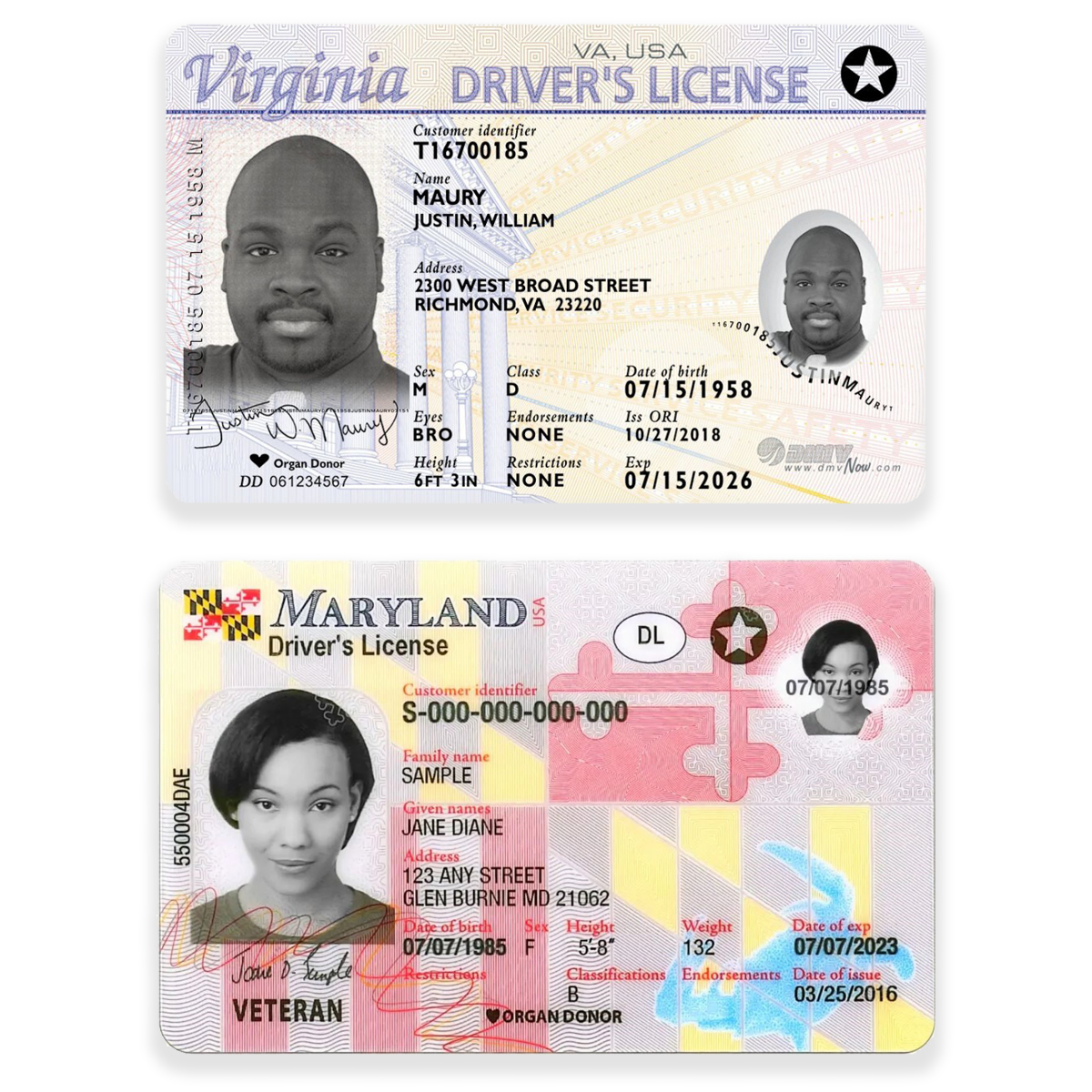 Examples of Real ID licenses.