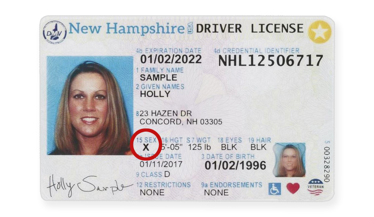 A driver's license from New Hampshire with X for gender.