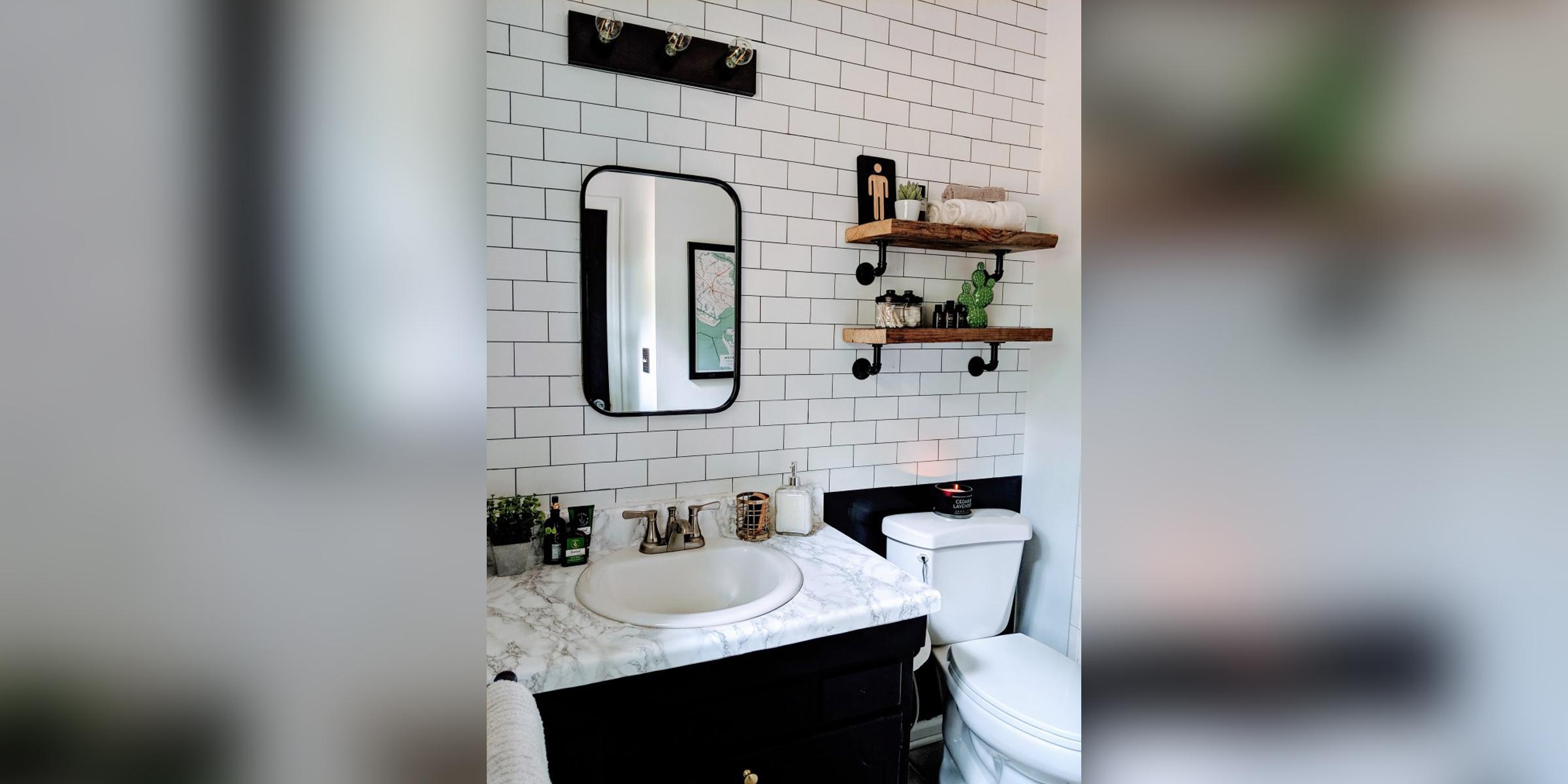Subway Tile In Her Bathroom