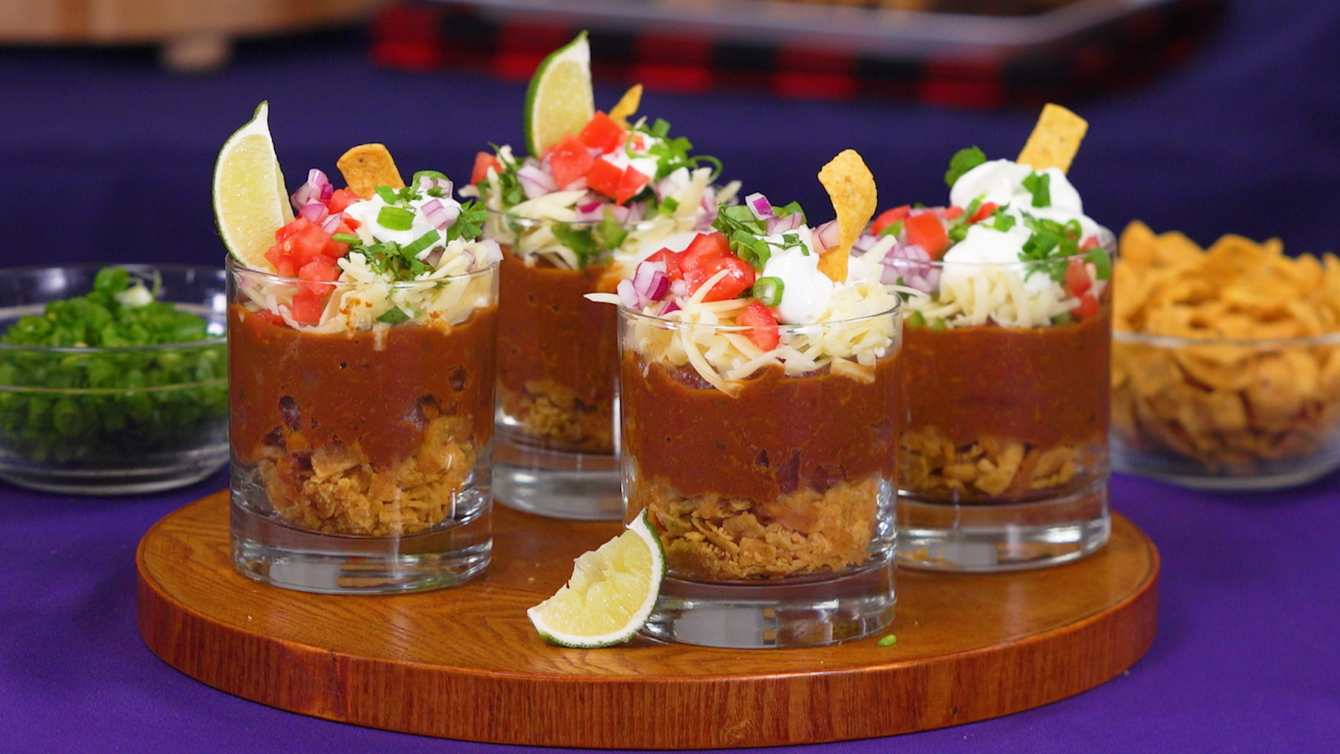Make a big pot of chili and serve it in mini glasses for a party