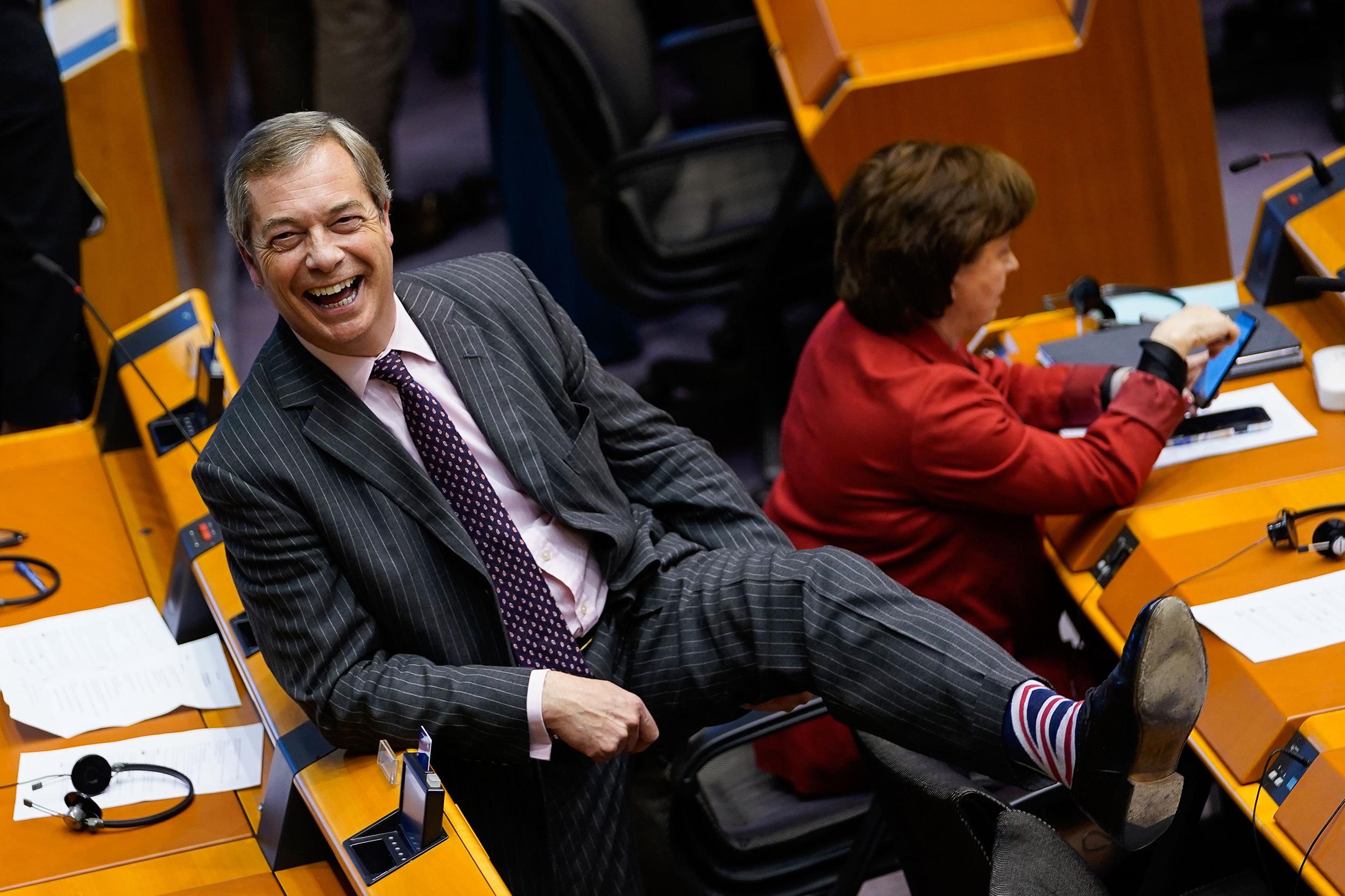 Image: Britain's Brexit Party leader Nigel Farage