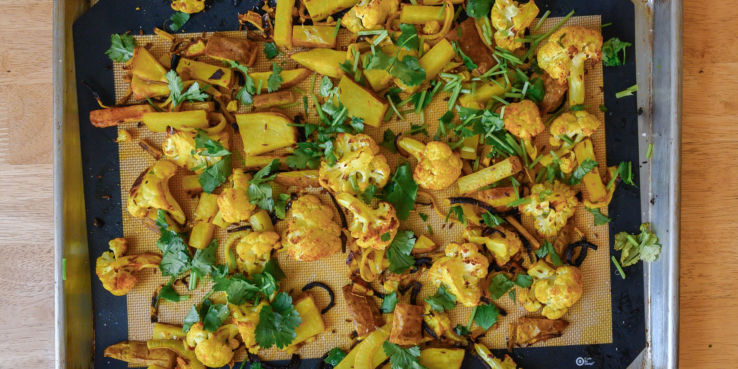 Priya Krishna makes potato and cauliflower aloo gobi all in one sheet pan