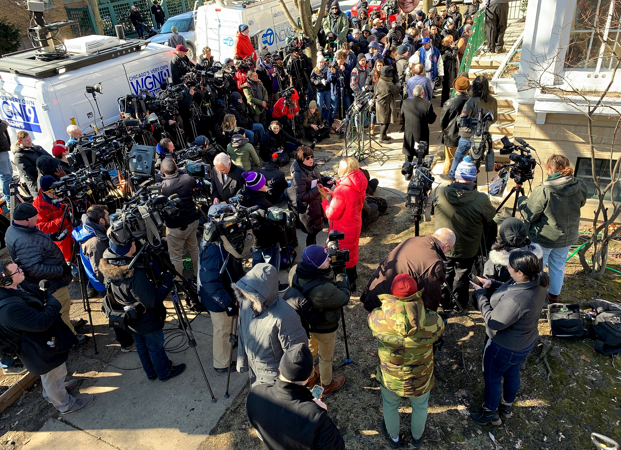 Image: Media waits for Rod Blagojevich to speak at a press conference the day after his sentence was commuted by President Donald Trump on Feb. 19, 2020.