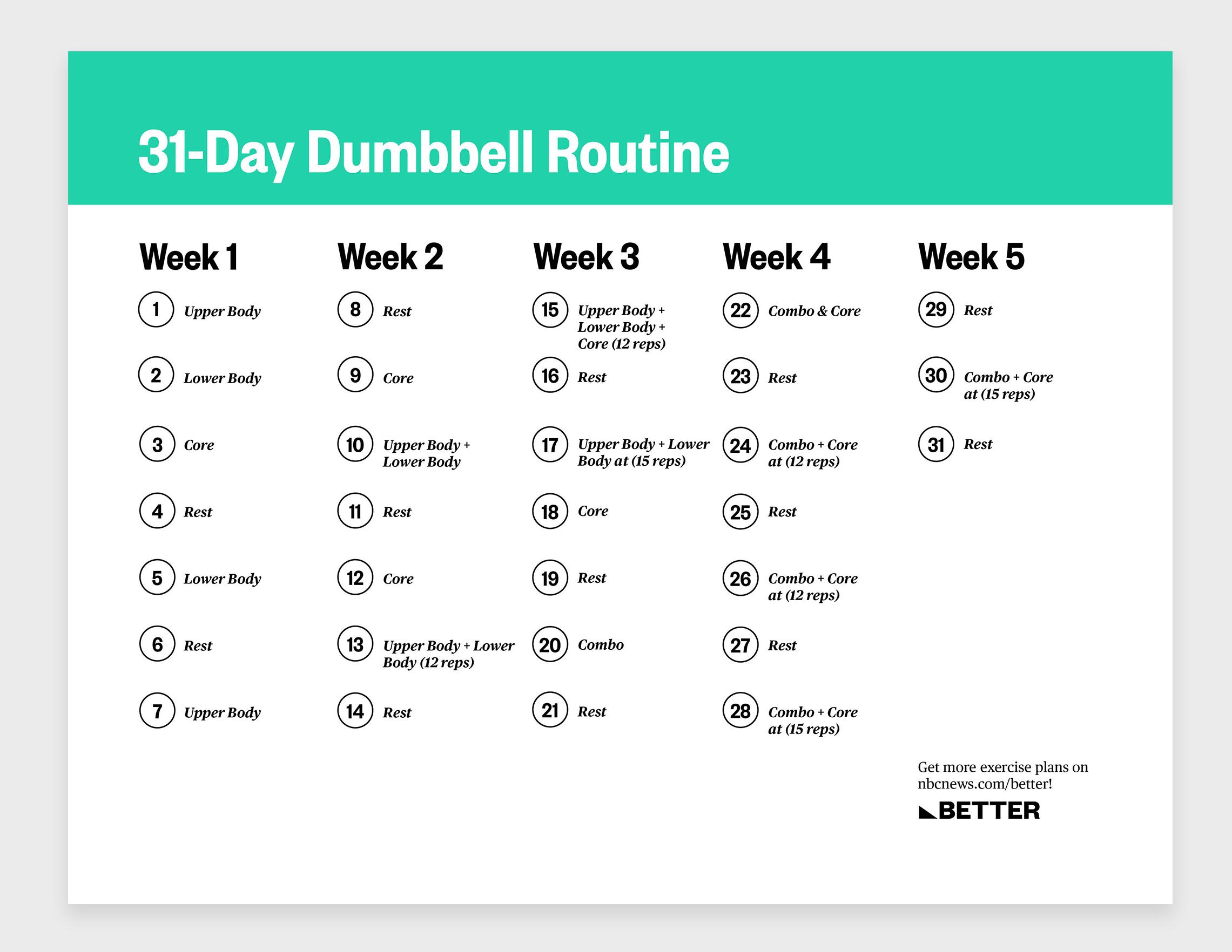 Schedule workout routine 30